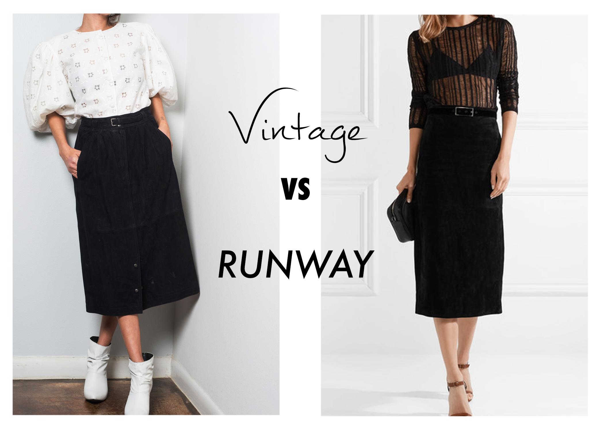 Vtg vs runway 1970s Gucci black suede skirt vs modern Saint Laurent skirt.jpg