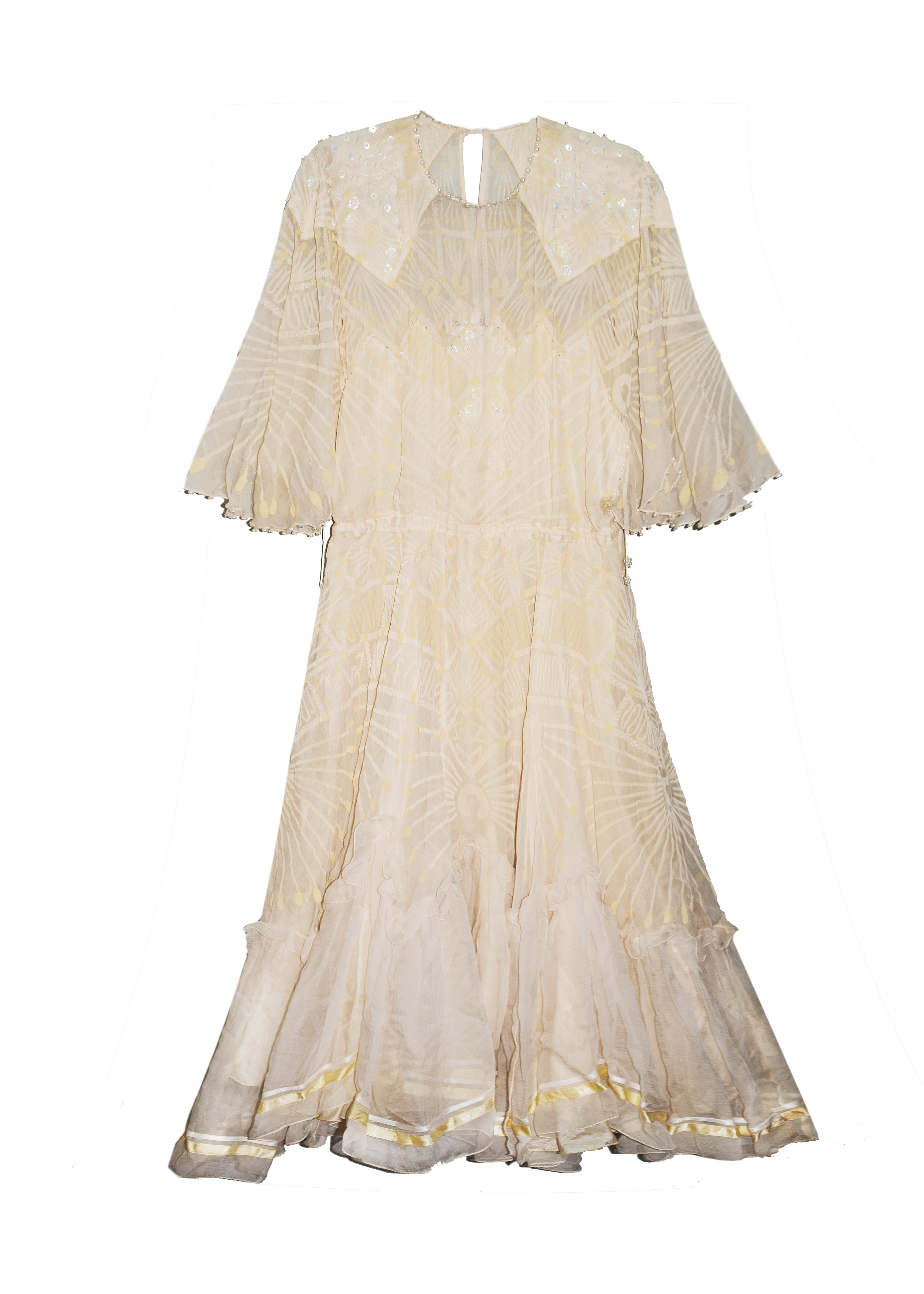 ZANDRA RHODES Cir. 1980 Collection Hand Painted Chiffon - A whimsical dreamy piece by the adored ZANDRA RHODES at A PART OF THE REST