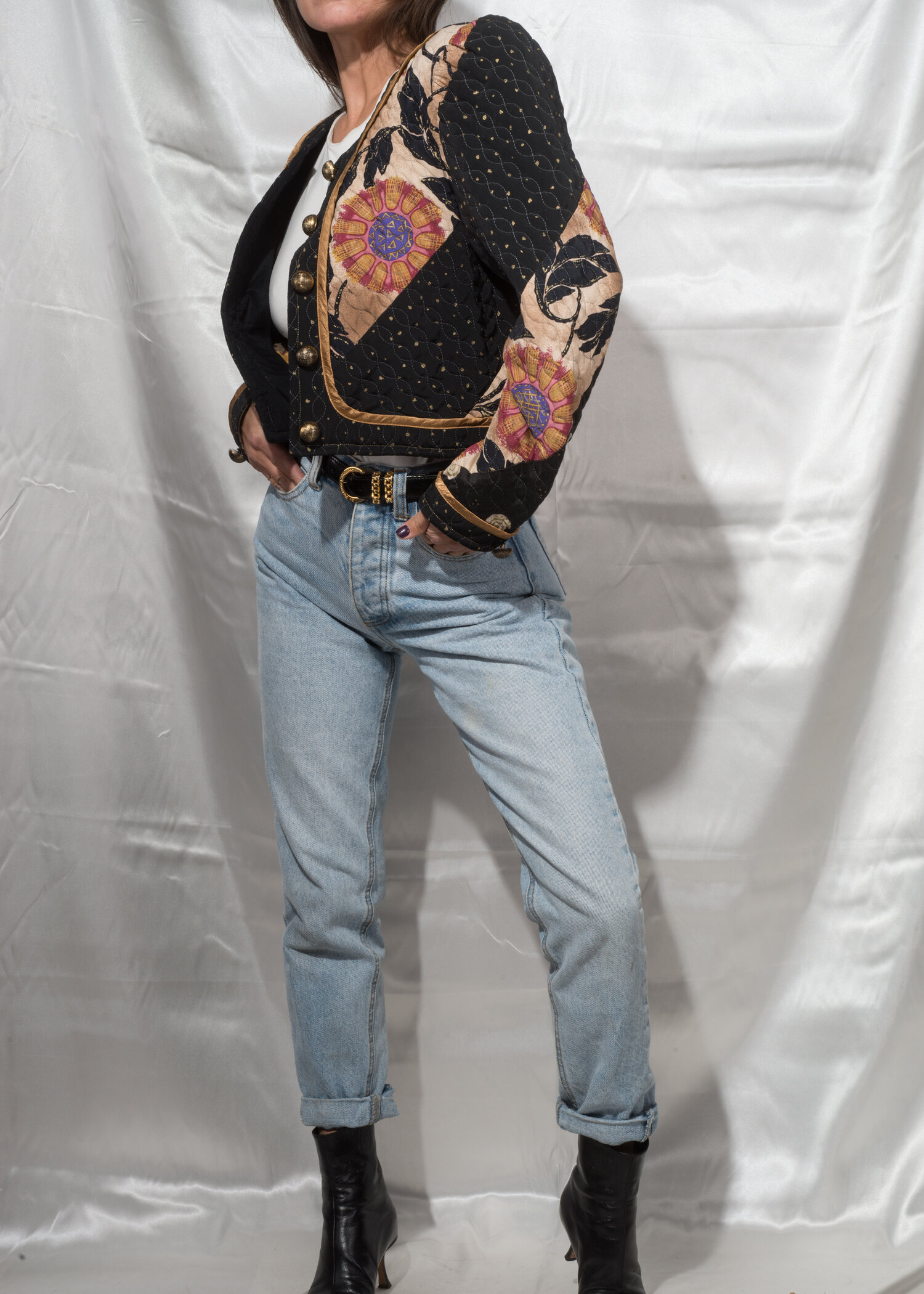 JEANNE MARC 80/'s Colorblock Blouse Vintage Patchwork Top Size 16-18