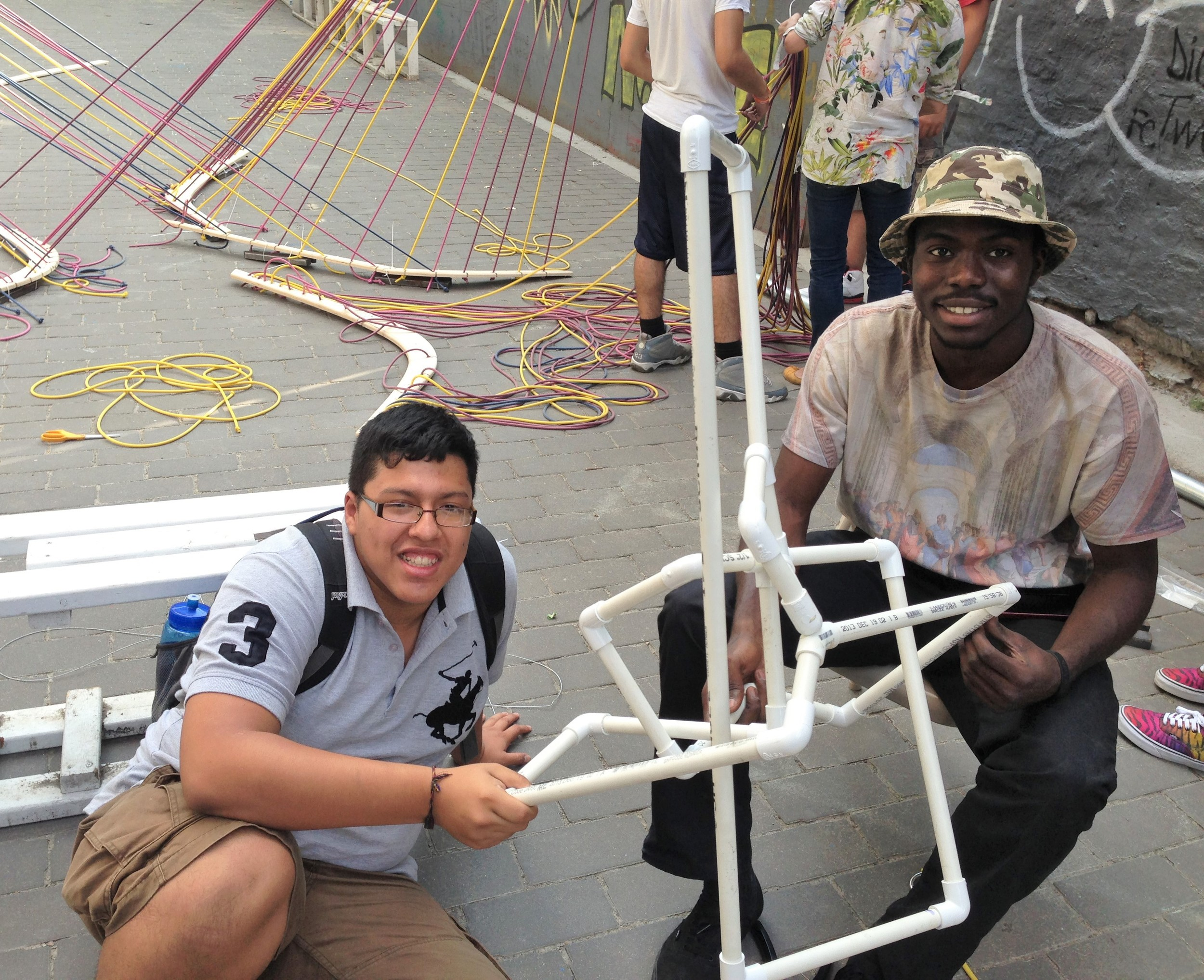 Workshop with Bronx River Art students Michael Murillo and Evangelino Beker