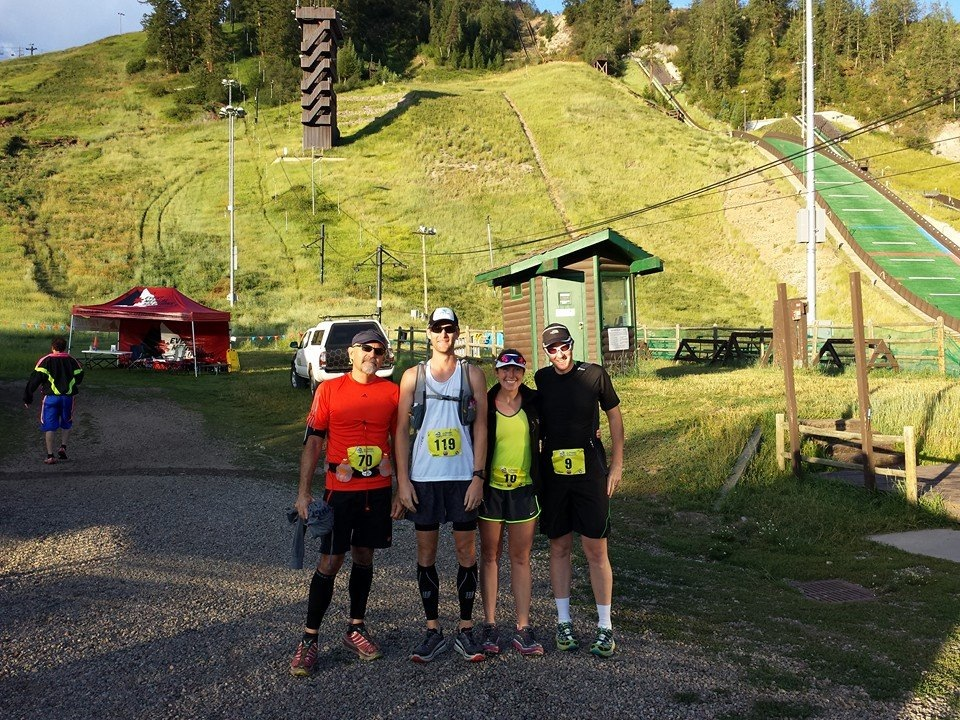 All smiles at the start despite the impending run up Howelson Hill (pictured behind us).