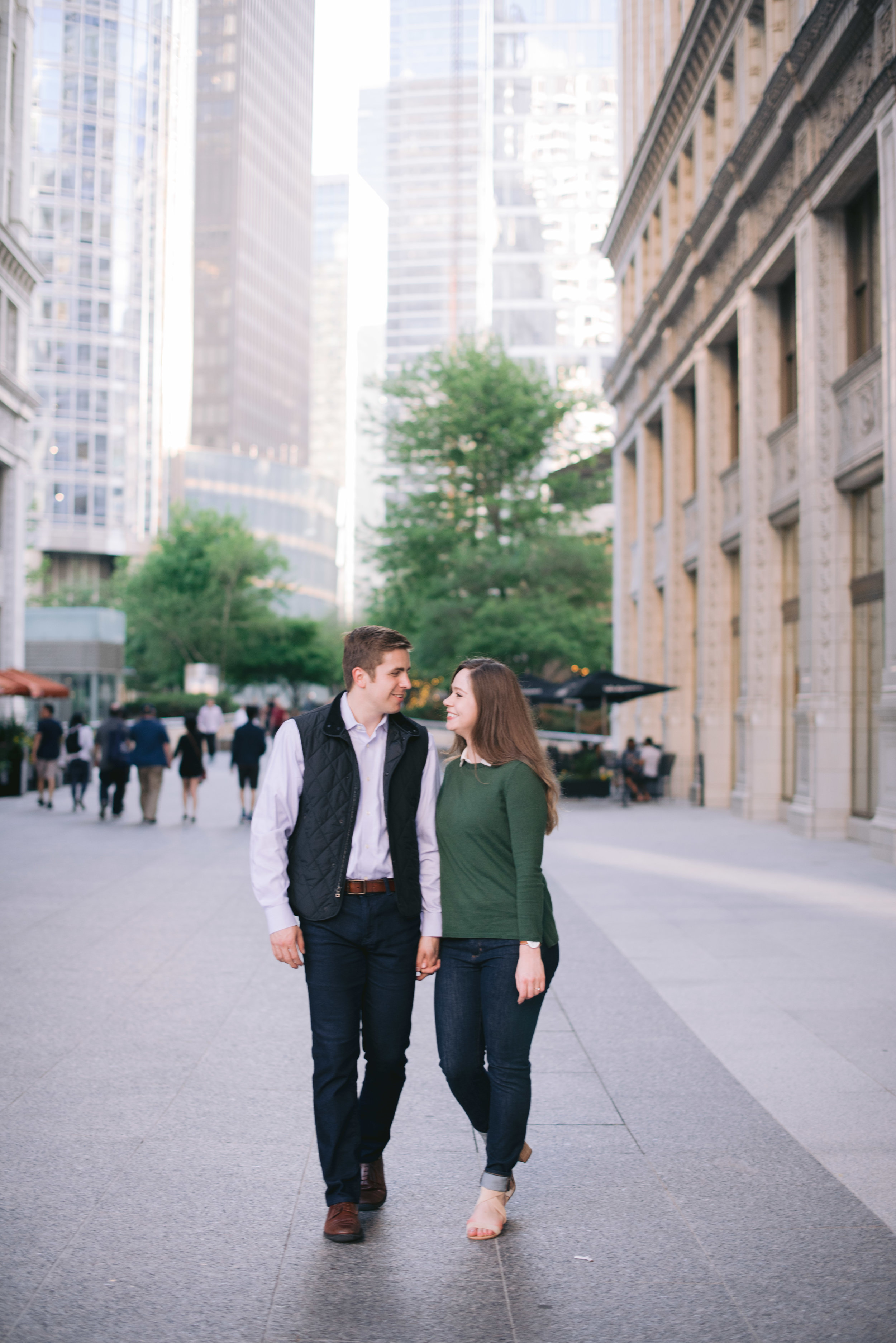 Downtown Chicago Wrigley Building Engagement Erika Aileen Photography Chicago Wedding Photographer