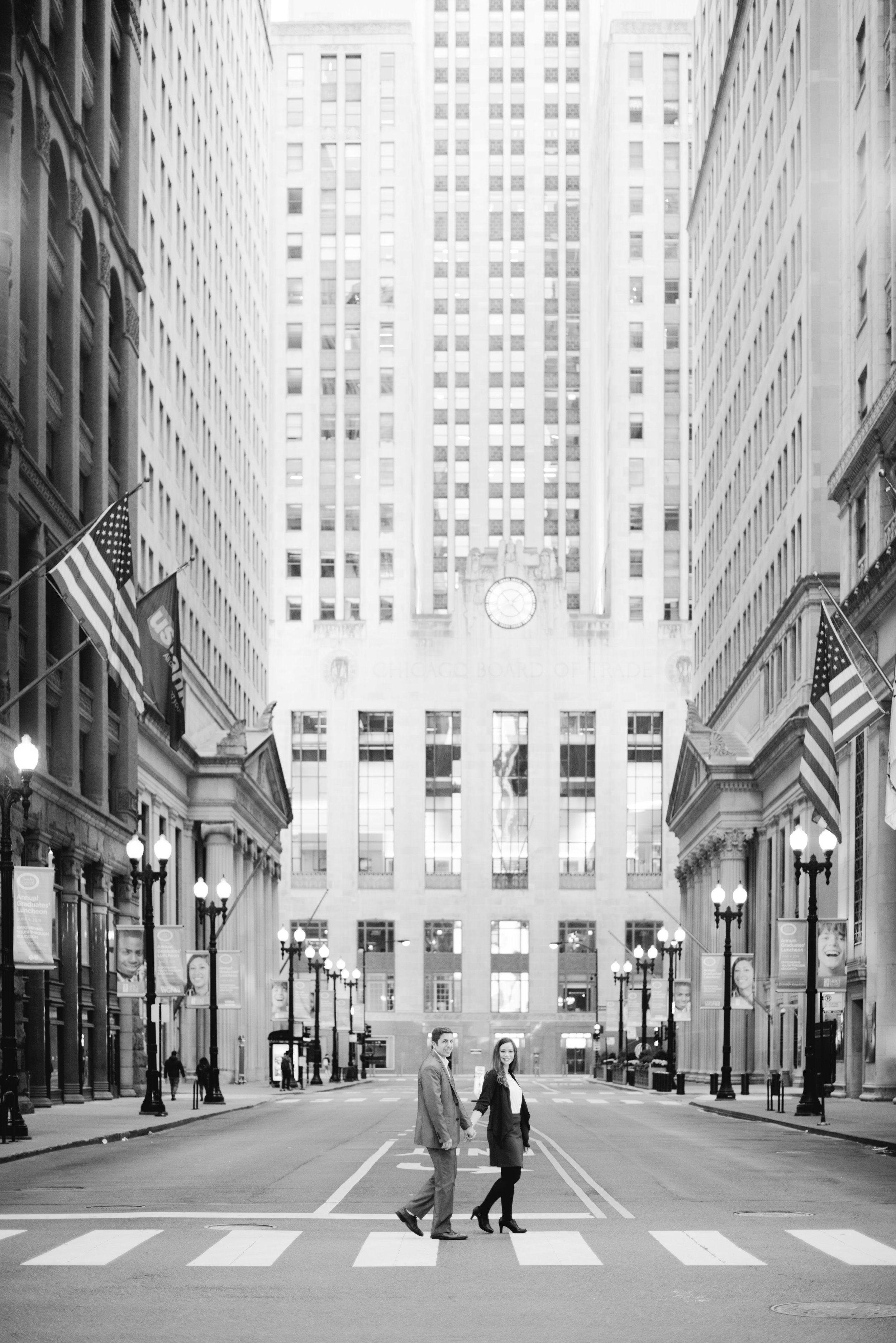Board of Trade Chicago Engagement Erika Aileen Photography Chicago Wedding Photographer