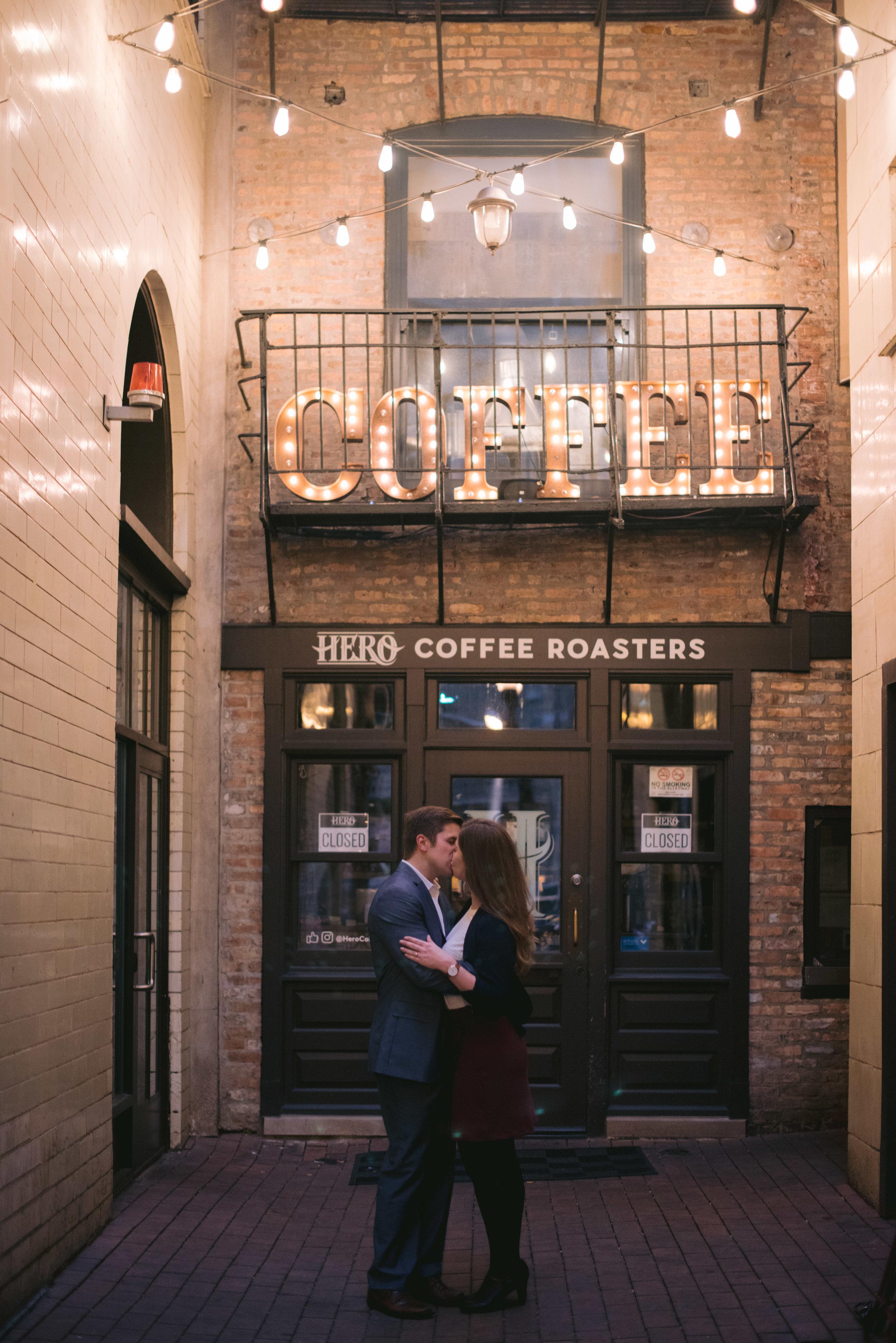 Hero Coffee Chicago Engagement Erika Aileen Photography Chicago Wedding Photographer