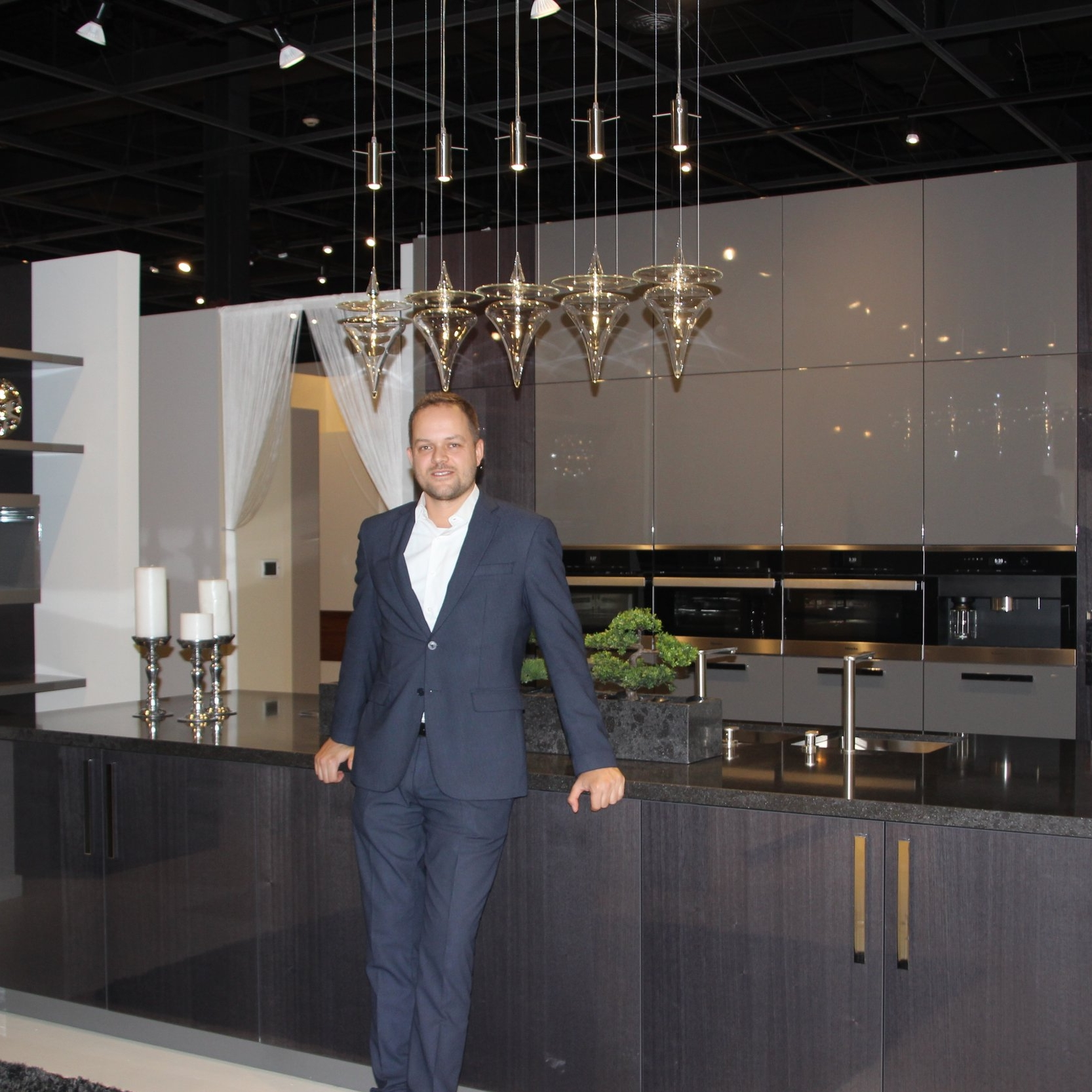 Christian Puca with Montecarlo by Val Design in the EuroAmerica Design showroom in Troy.