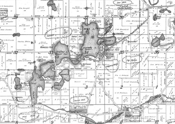 Area plot map, circa 1940