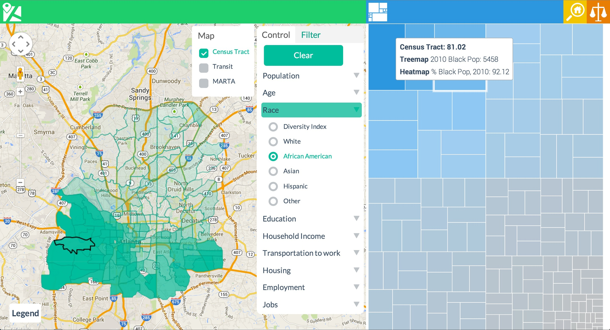 Heat map and Tree Map View