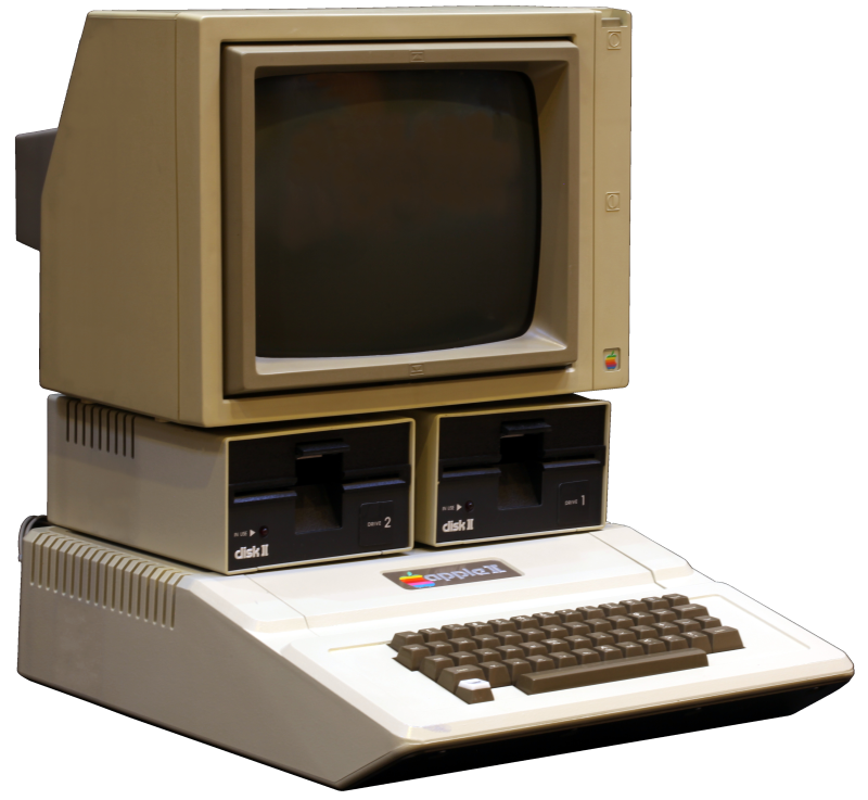 (fonte: Wikimedia em  https://upload.wikimedia.org/wikipedia/commons/8/82/Apple_II_tranparent_800.png )