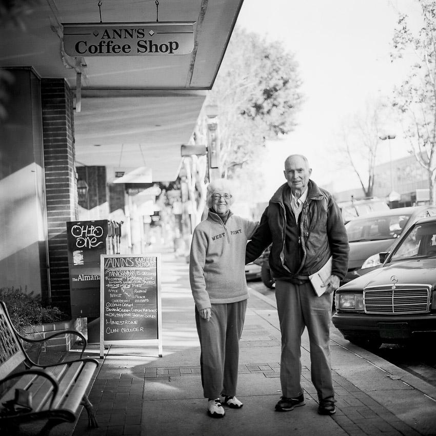 Rhoda & Dave, Ann's Coffee Shop, Menlo Park, CA 2013                           Hasselblad 501C/M T-Max 400