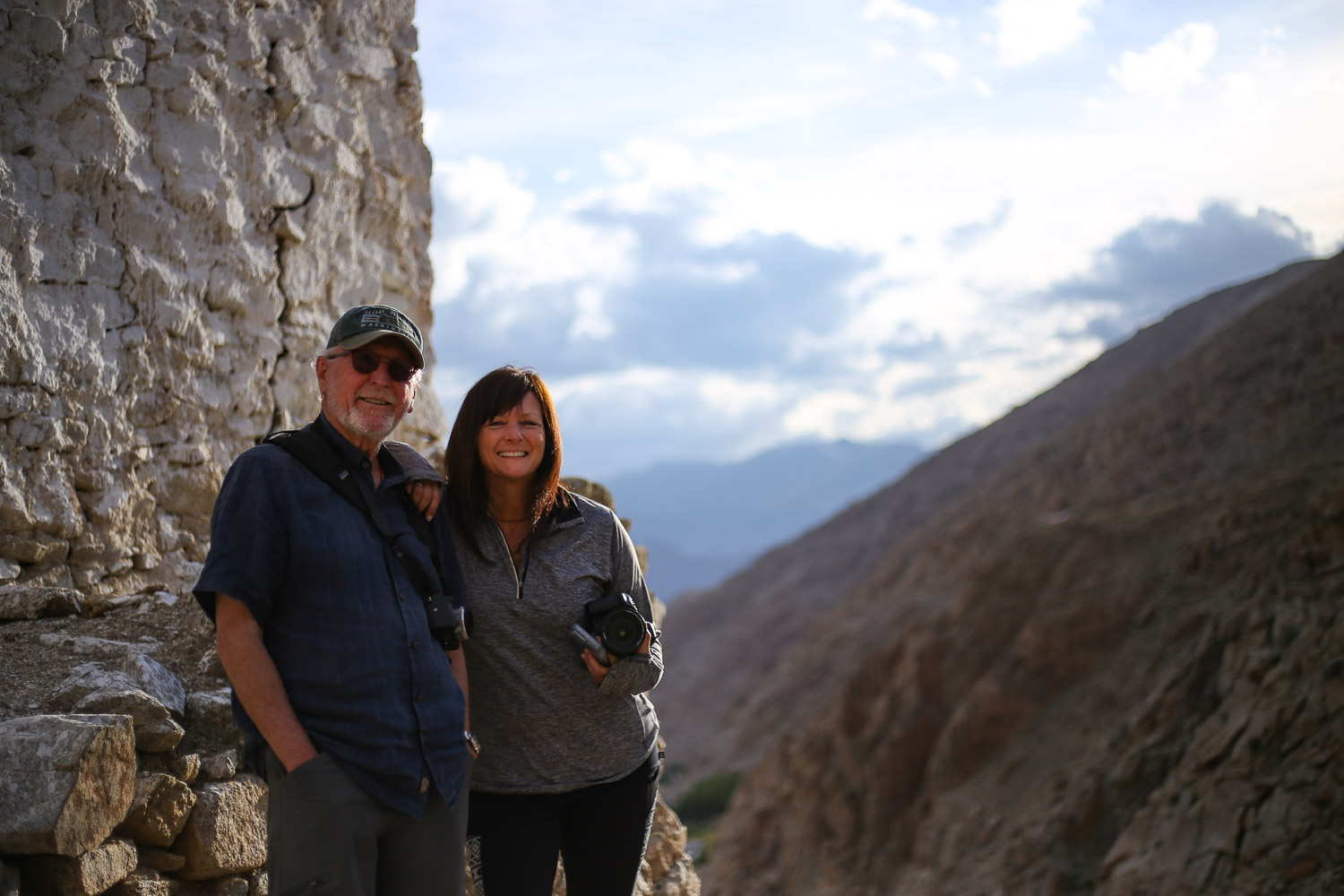 Bill and Sarah at the top of a tiny monastery during a home stay. Photo: Jigmat Lundup