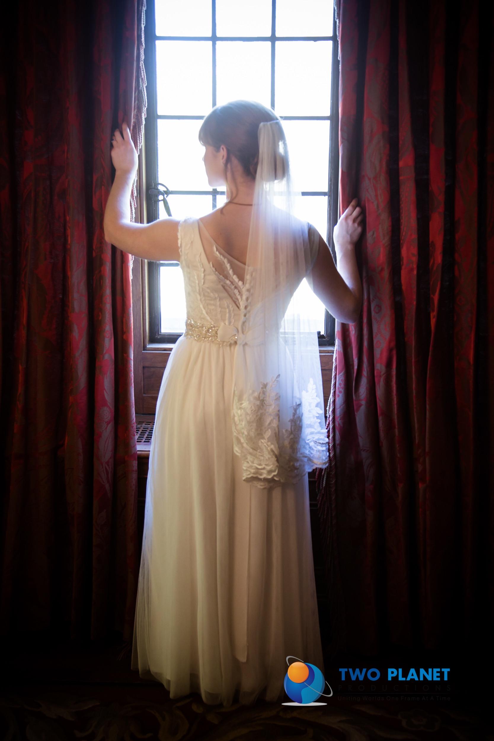 Bridal Couture by Sonni custom lace wedding dress Amelia veil back