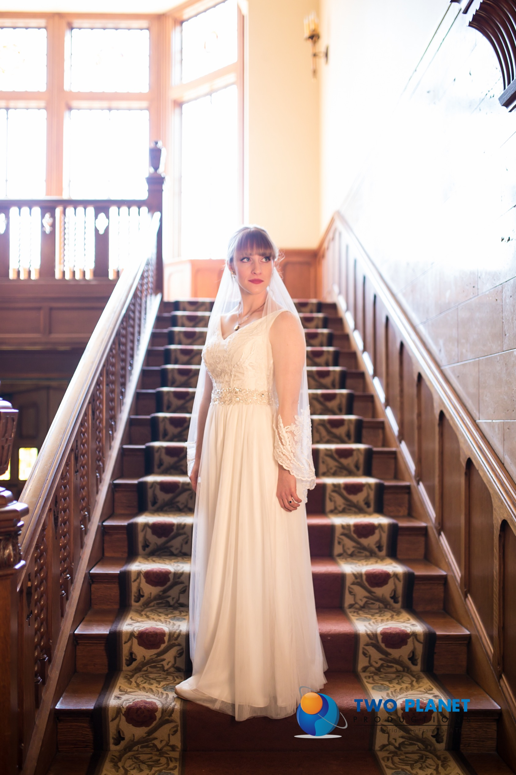 Bridal Couture by Sonni custom lace wedding dress Amelia stairway