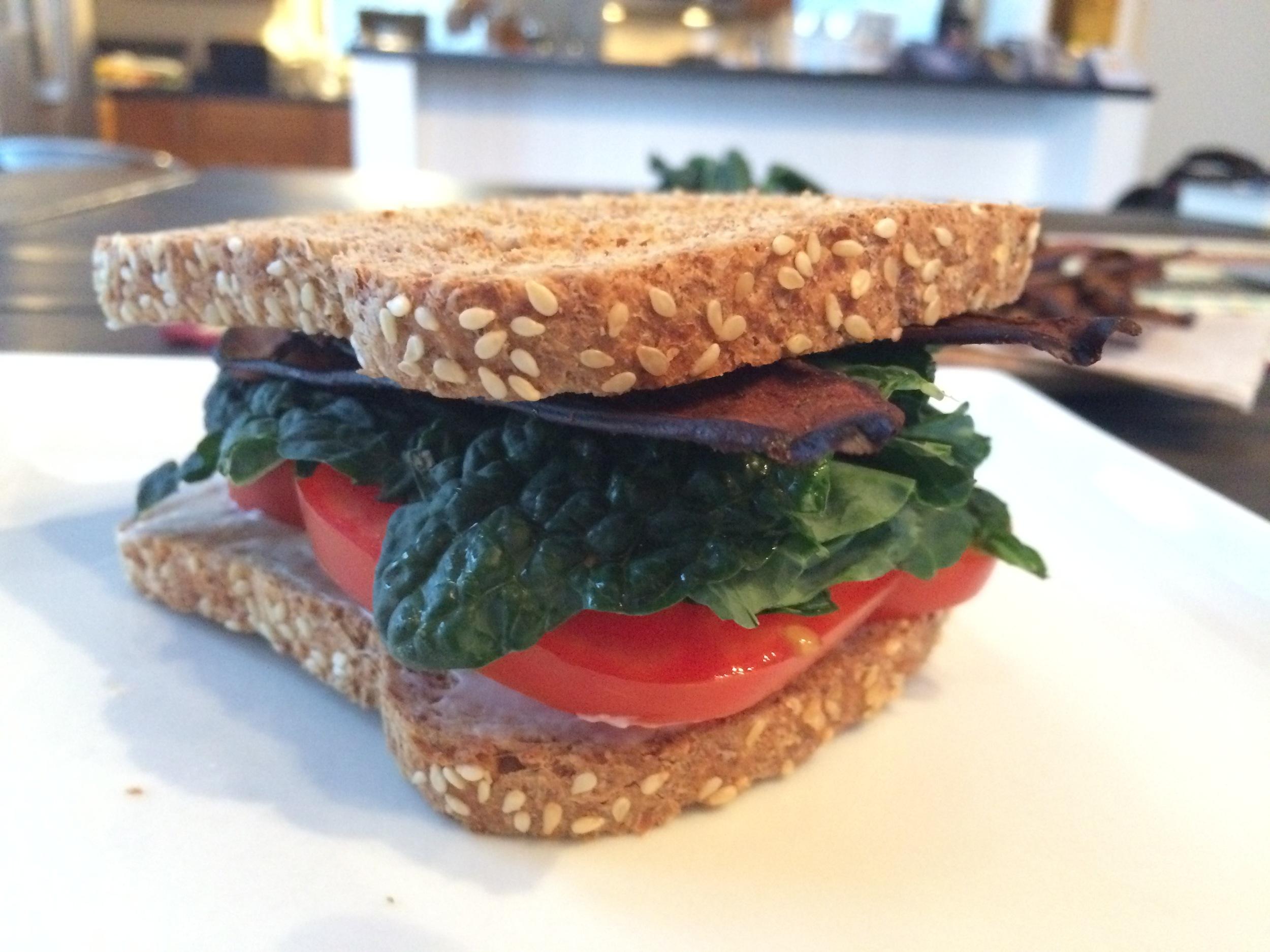 Eggplant Bacon-Kale-Tomato Sandwich