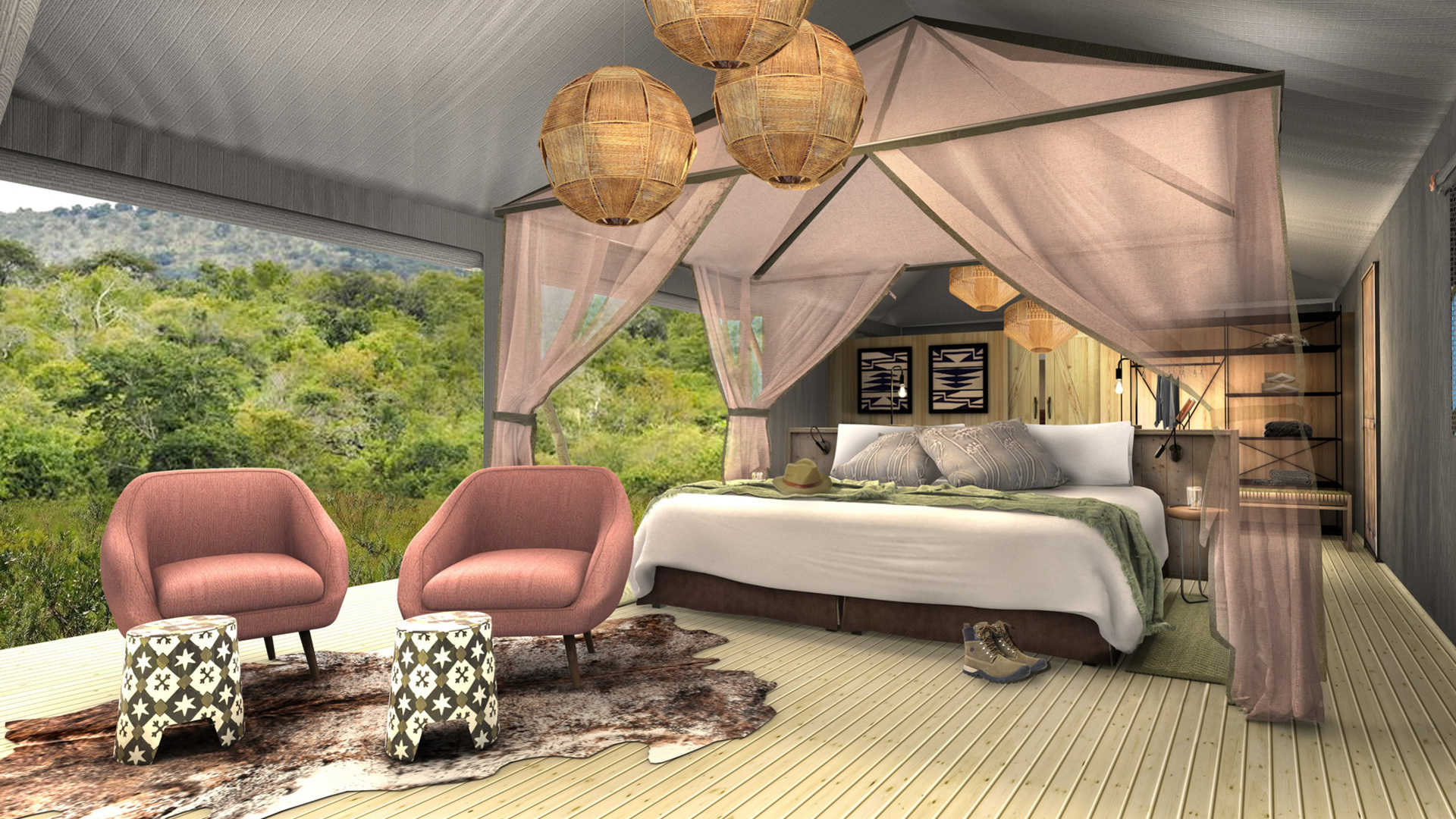 Photo: Magashi Camp tent rendering, courtesy of Wilderness Safaris.