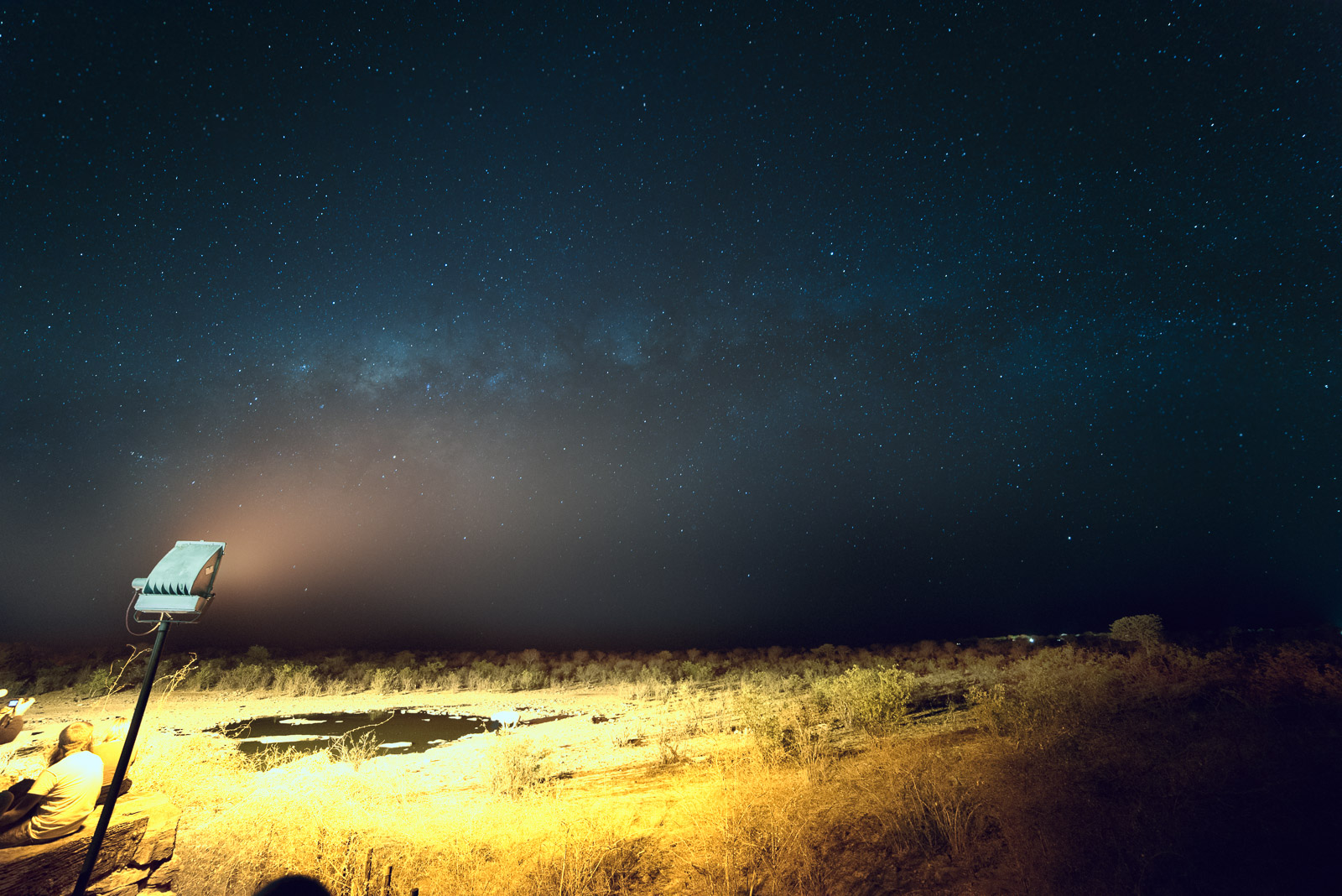 Milky Way over the waterhole at Halali camp inside Etosha National Park