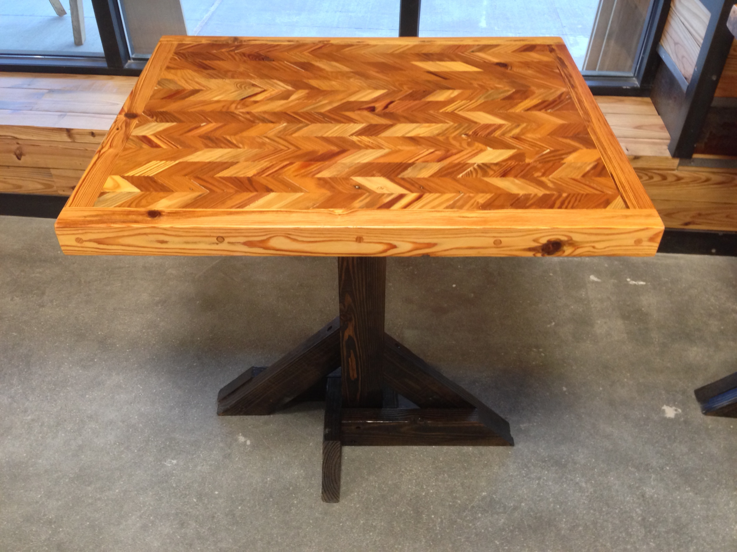 Heart Pine Mosaic two-top table
