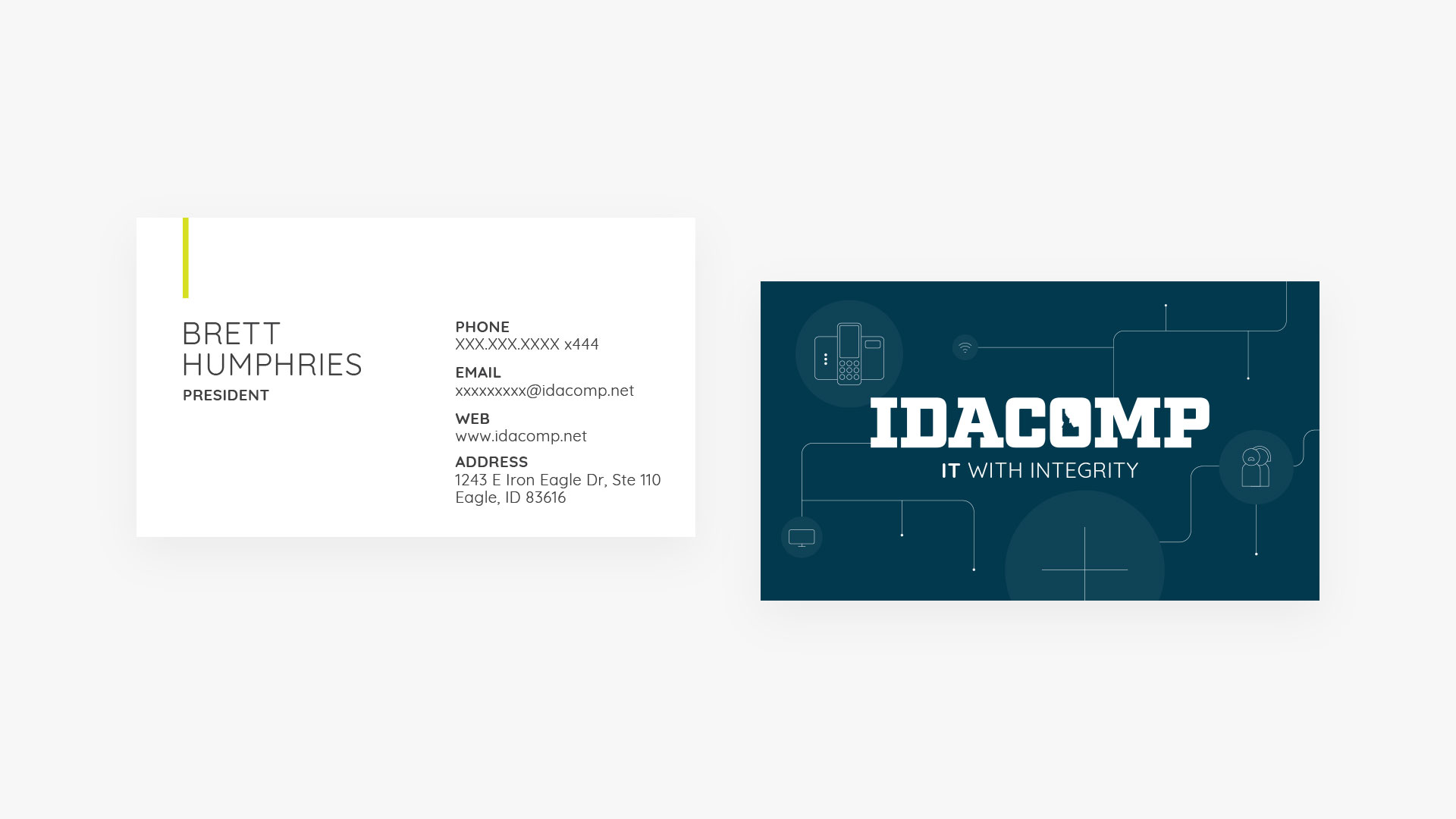 IdaComp.net business card design