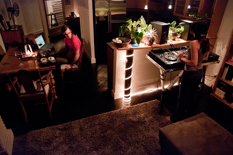 Chris helps his older sister Julie learn to DJ.