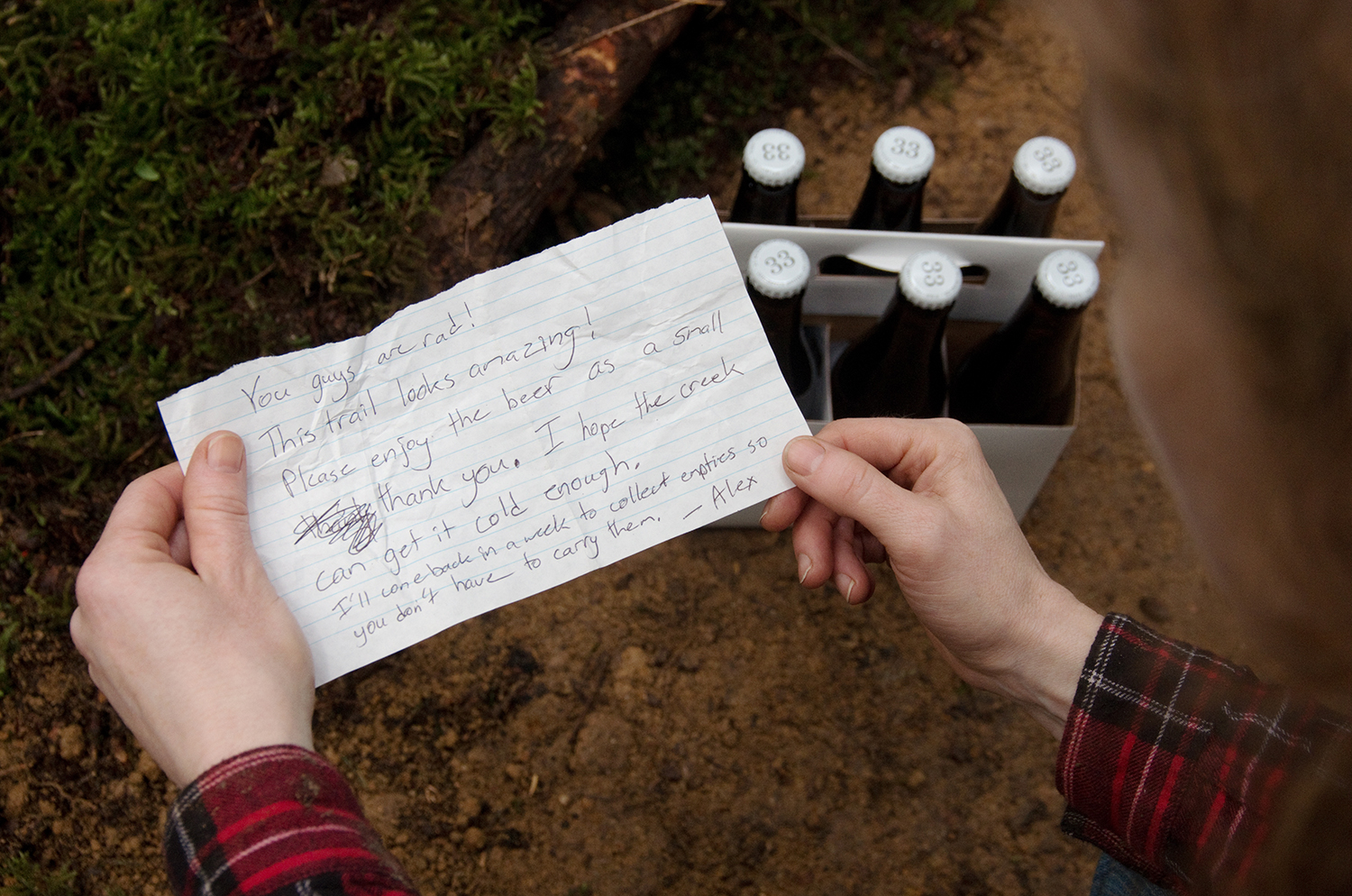 Alex and Maddy were amongst the first to discover the trail while walking their dog. This note became a special keepsake for Martin and Penny.