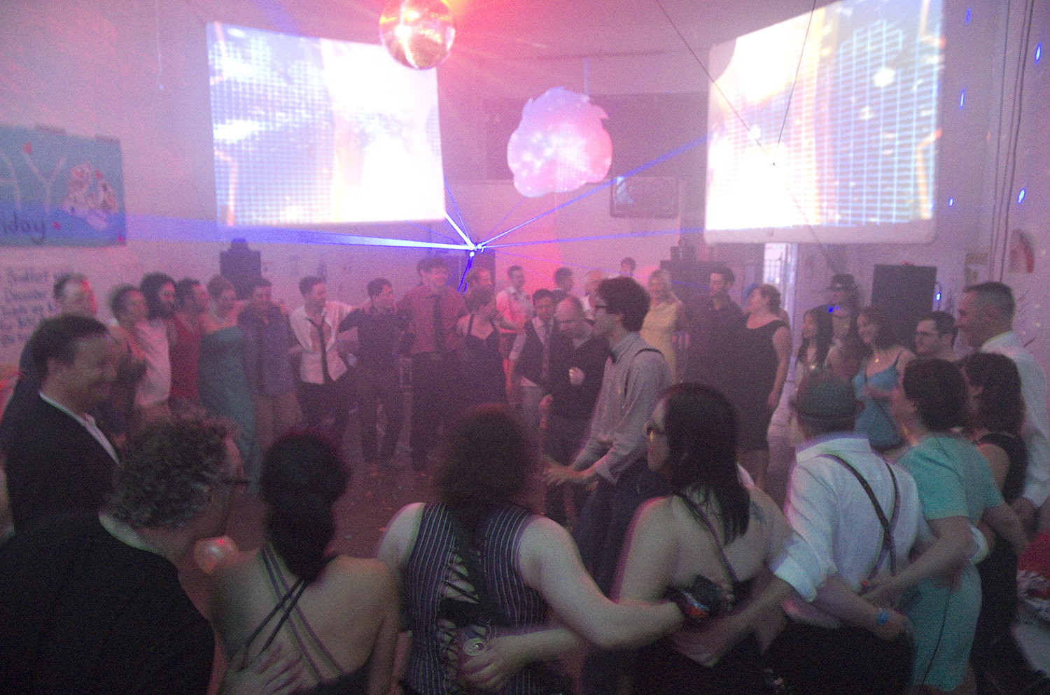 Prom Night at Soundproof High, one of three parties held at East Van Studios between 2013 and 2014, garnered possibly the most costume participation of any Soundproof party yet. It ended with everyone spontaneously embracing to form a large circle surrounding the dancers within.