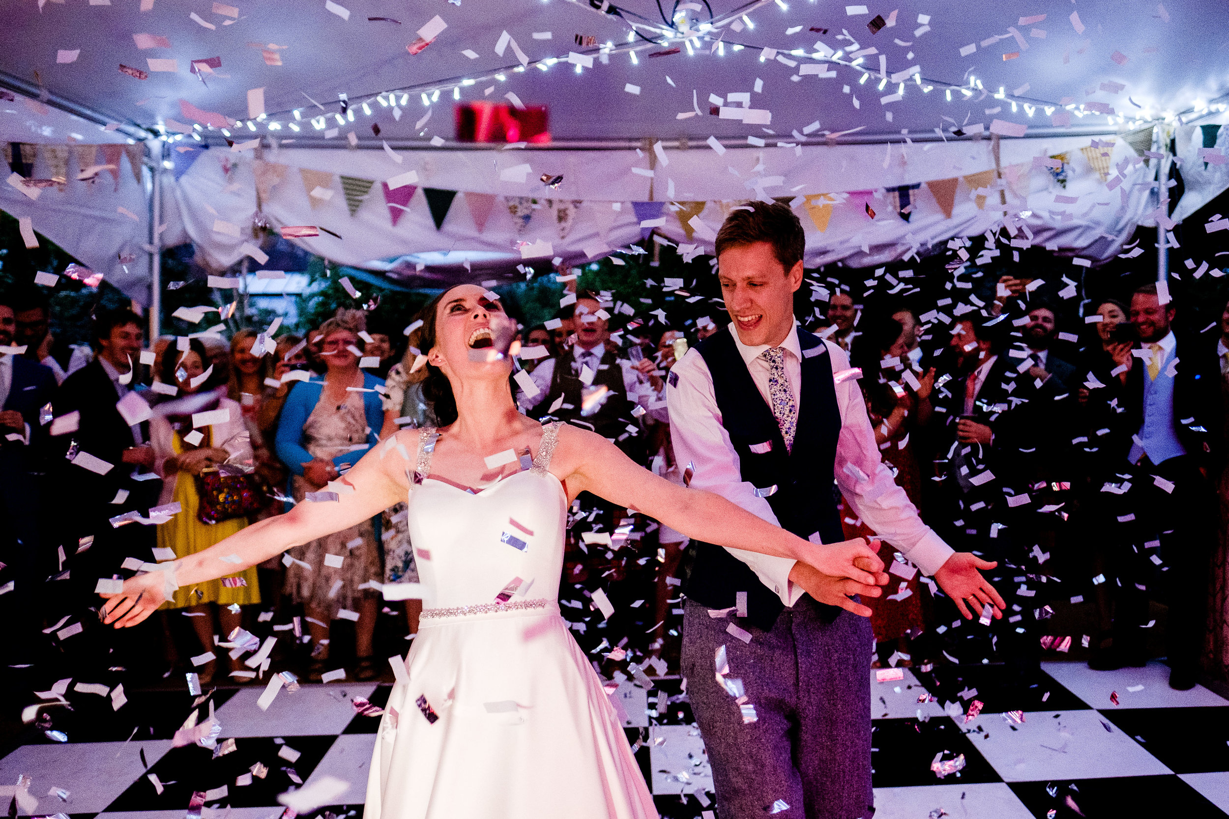 confetti cannons after the first dance