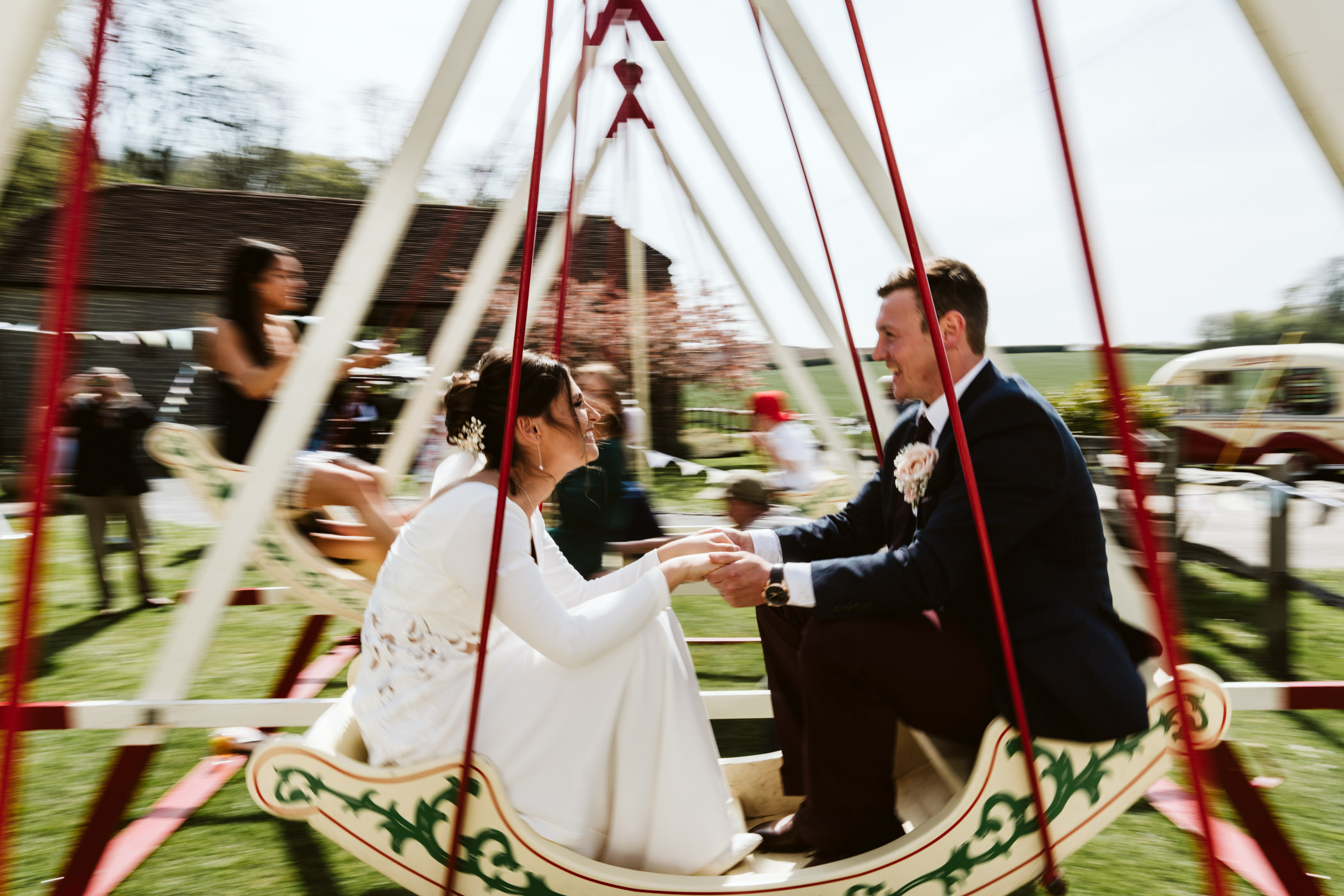 I slowed my shutter right down here to create a sense of movement - Vintage swings at weddings