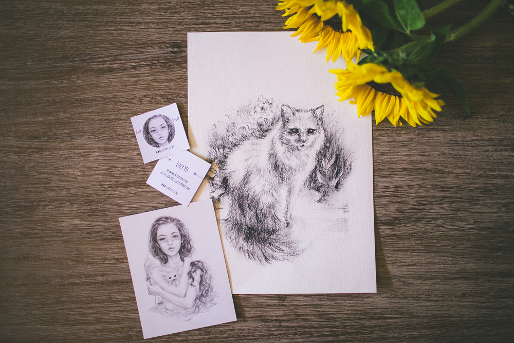 the wonderful  lucy yu  sent me this gorgeous drawing she made of my kitty in the mail <3 it is now framed and hanging up on my wall!