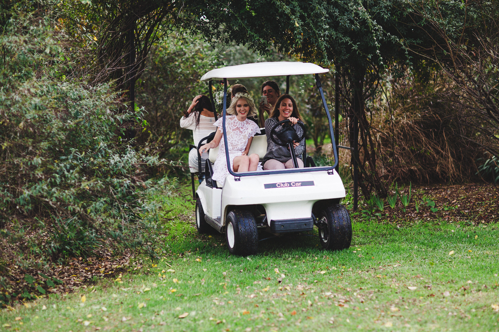 we were shooting on a big property, so the easiest and fastest way to get around was on a golf buggy! we all had fun screaming while driving over the slippery grass and over hills.