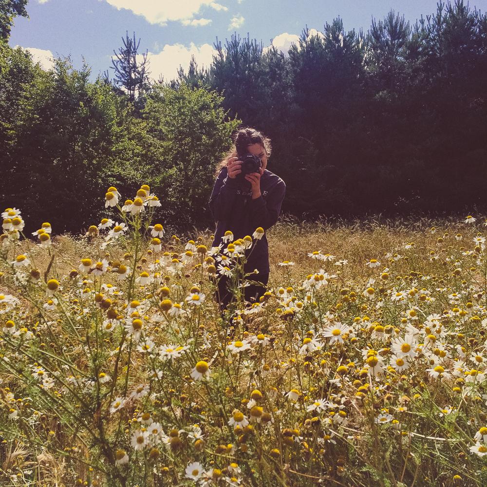 Shooting in wildflower fields.