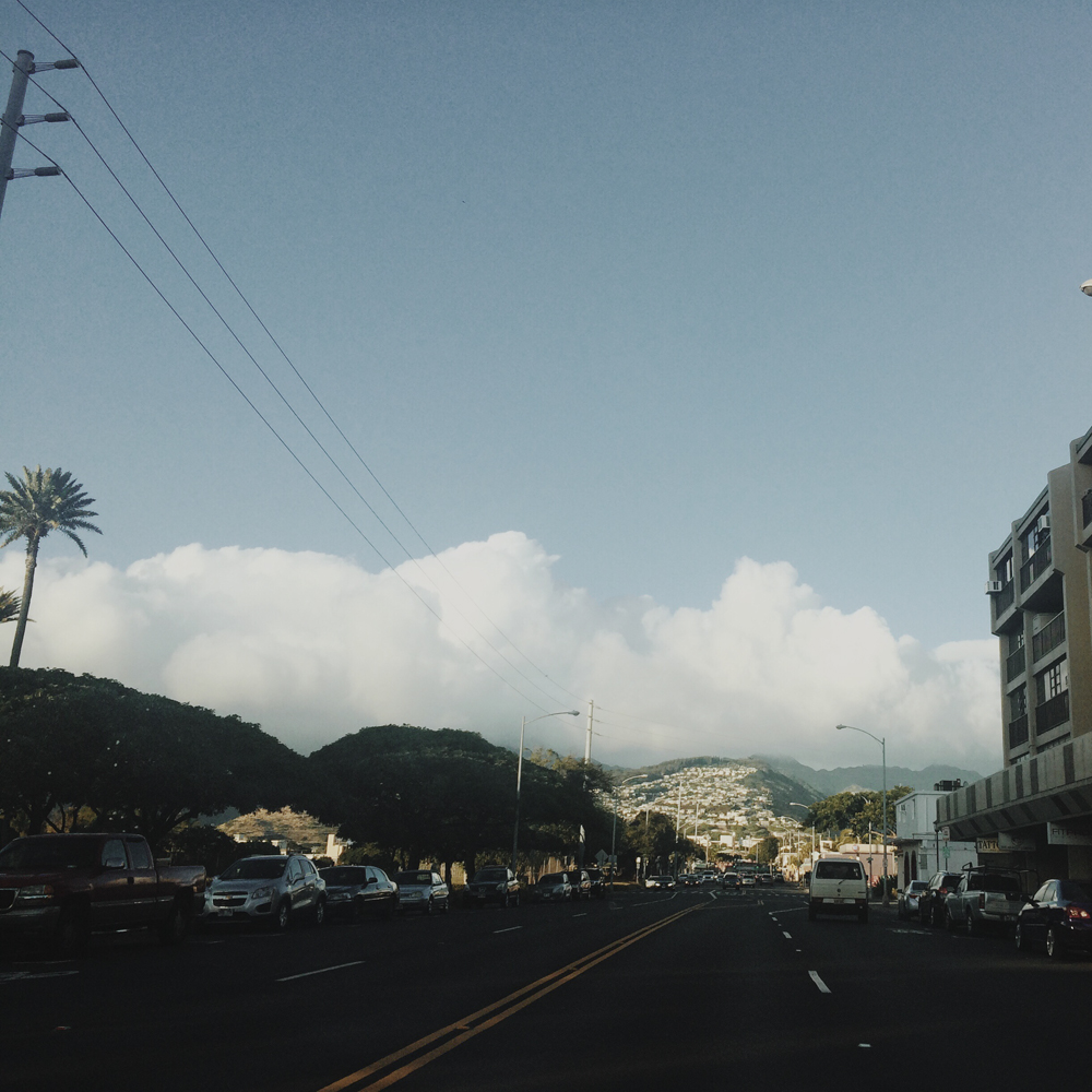 Driving to Diamond Head.