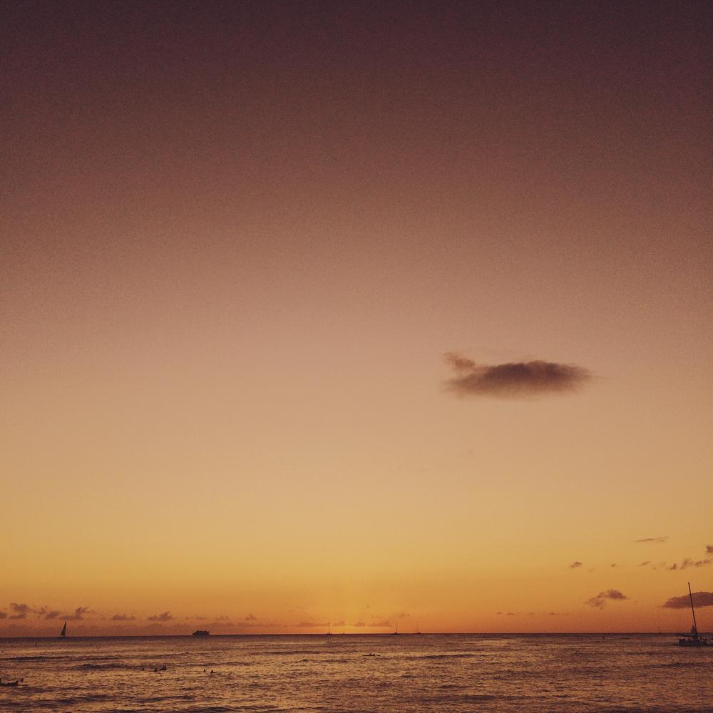 My first sunset over the water at Waikiki Beach.