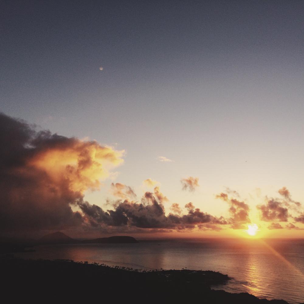 Sunrise at the top of Diamond Head.