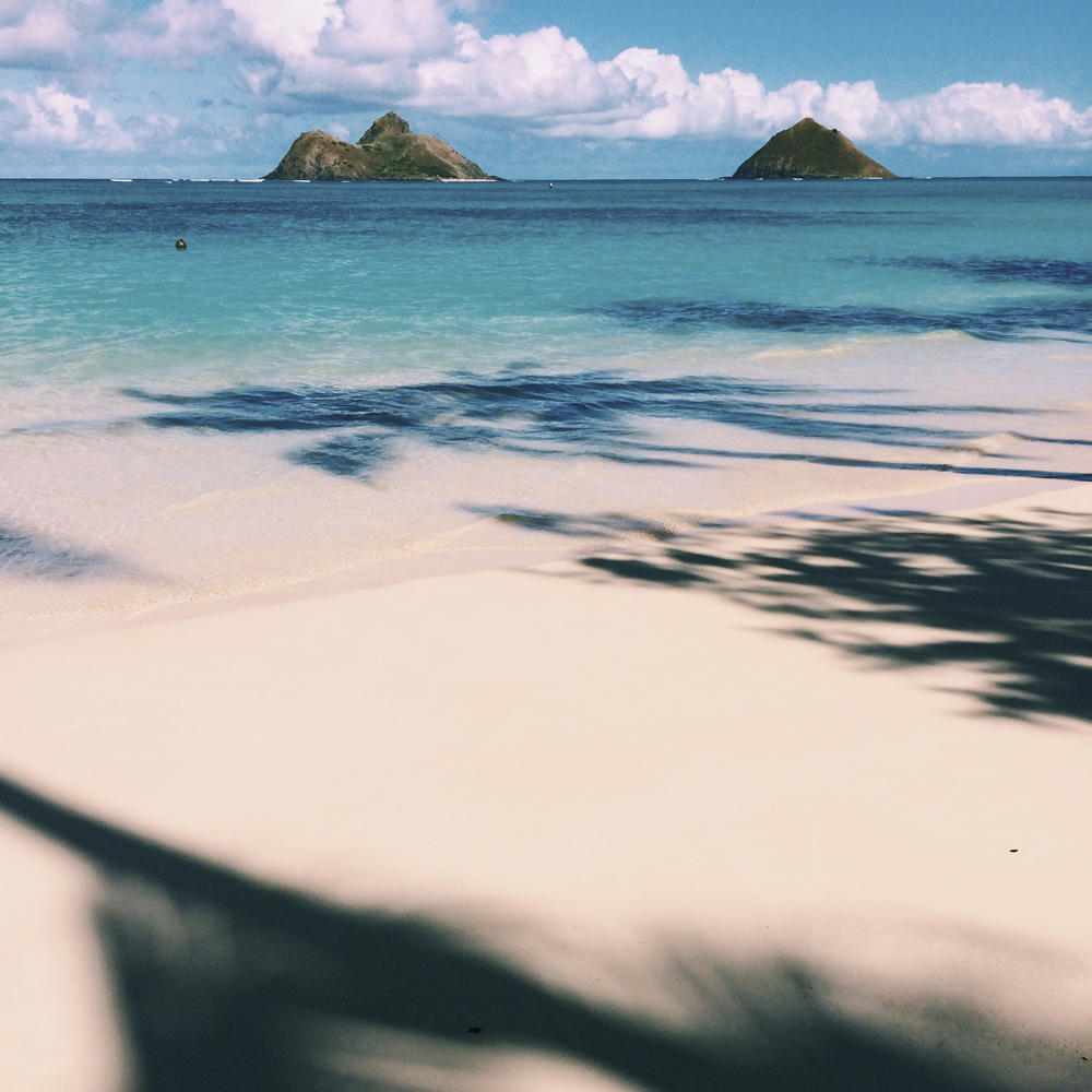 White sand and crystal clear waters of Lanikai Beach.