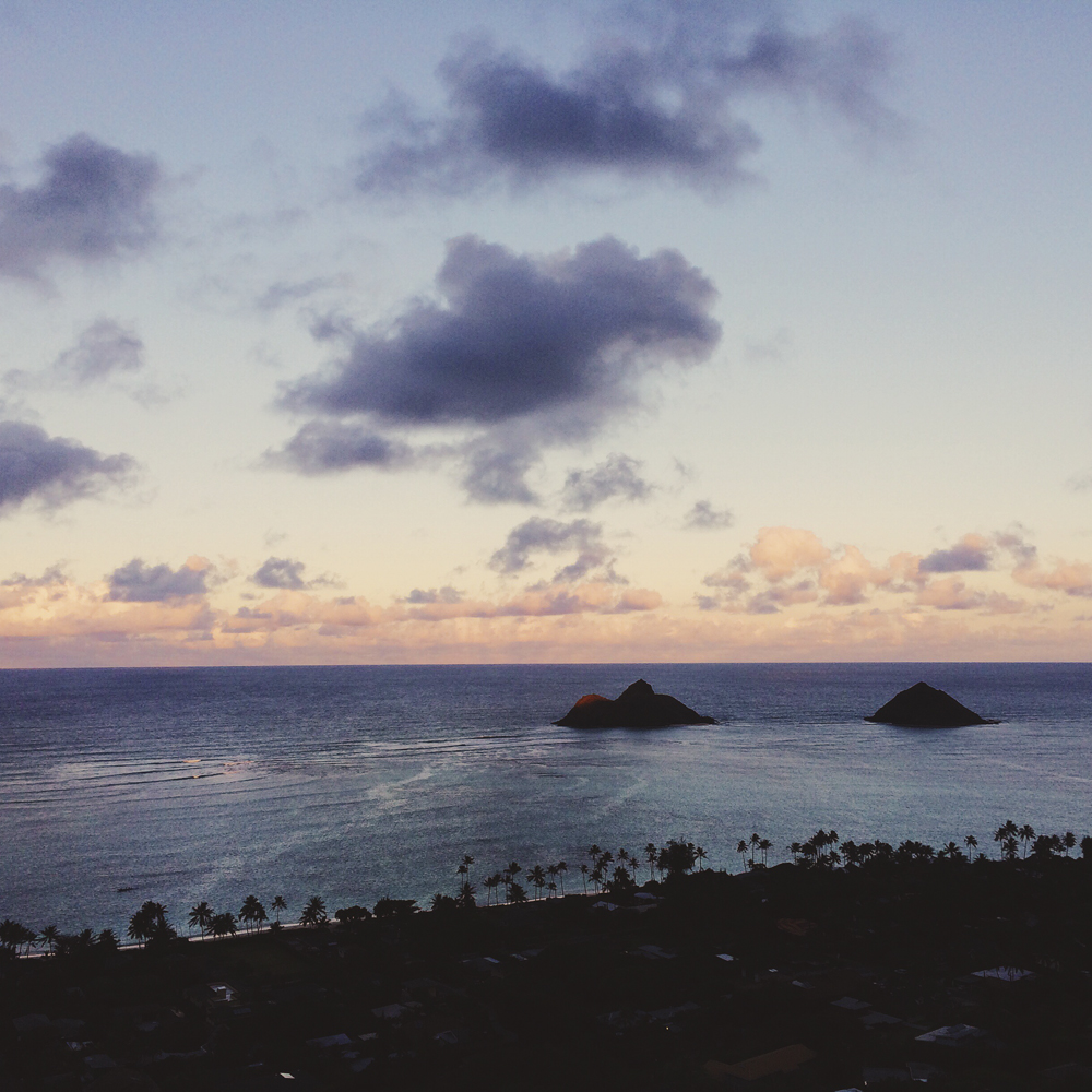 Climbing to the top of the Lanikai Pillbox Hike. The views were incredible!