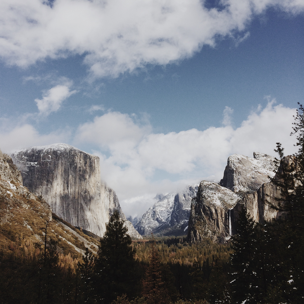 Tunnel View - Yosemite all covered in snow.