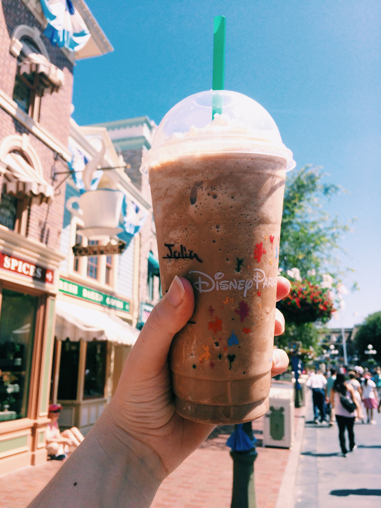 Hot days at Disneyland calls for chilled drinks at Starbucks!
