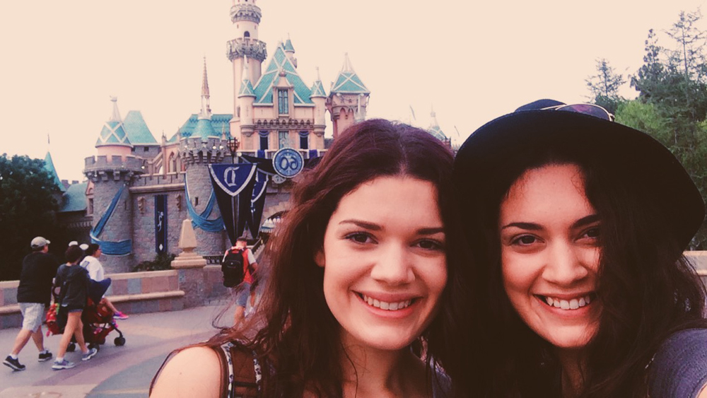 Selfie with my sister at the Disneyland castle!