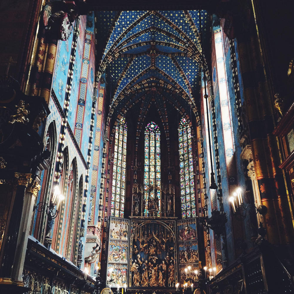 The inside of Mariacki church in the Krakow Main Square.