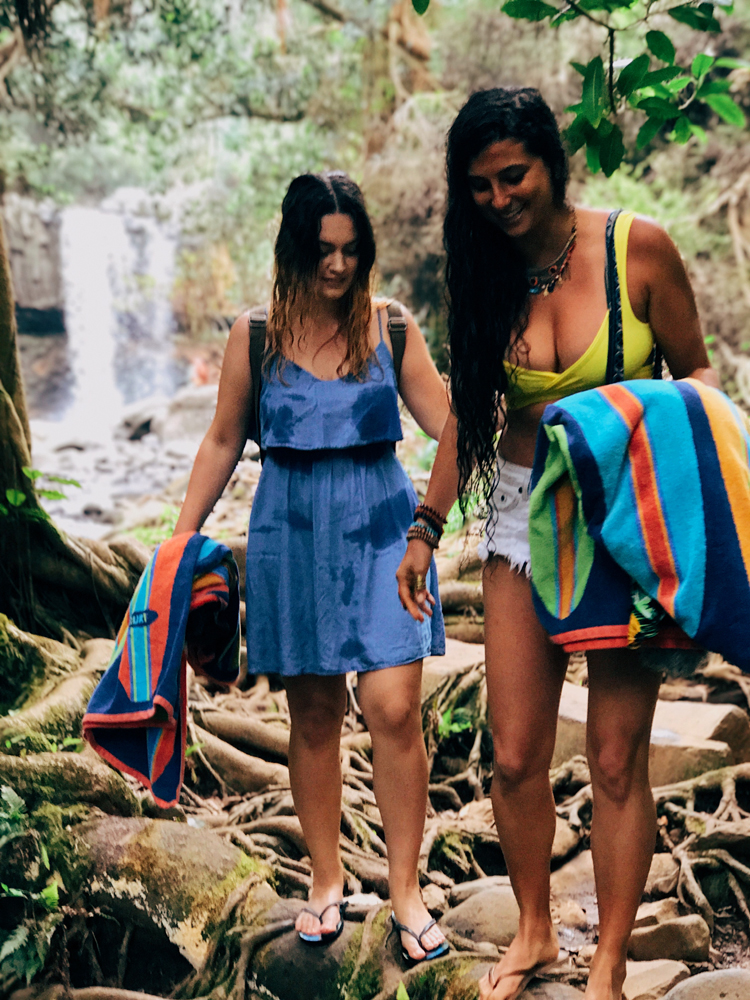 Hiking to waterfalls with Kristina and Ellen Fisher.