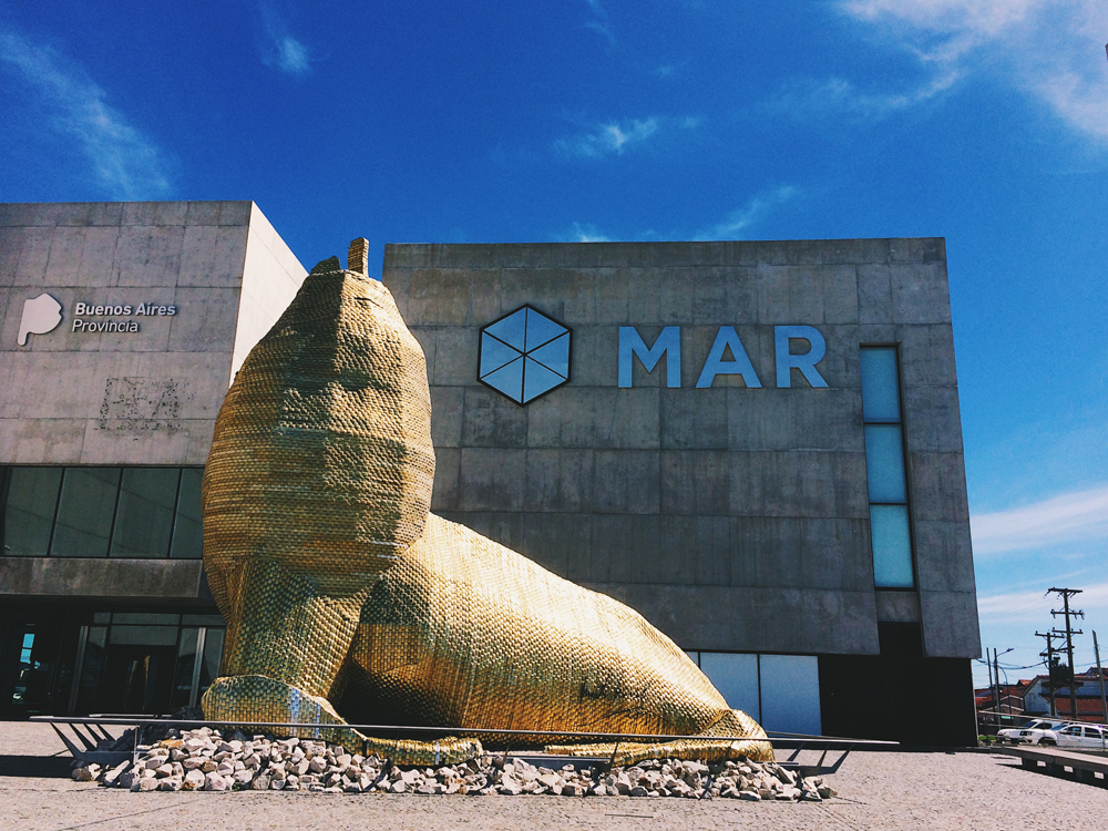 The museum in Mar Del Plata with a sea lion statue made out of Alfajor wrappers.