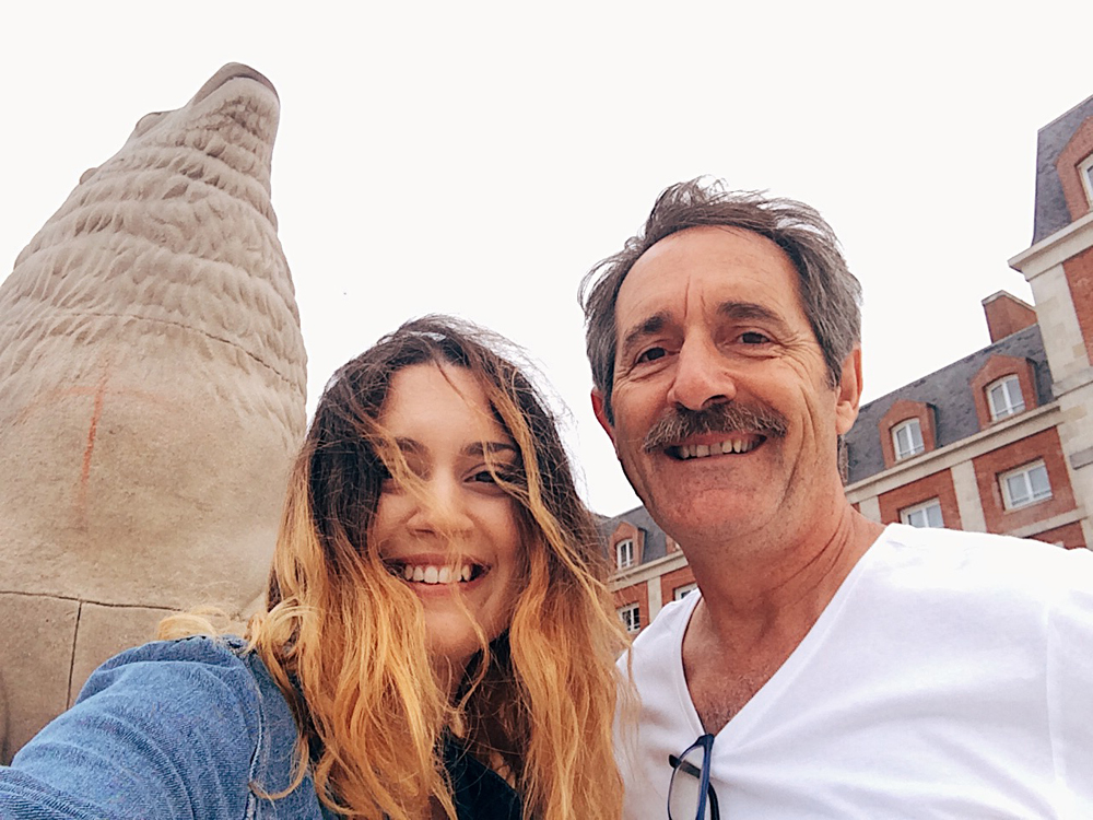 The sea lion statues in Mar Del Plata with my dad.
