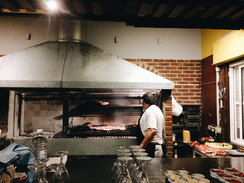 Cooking Asado in a restaurant.