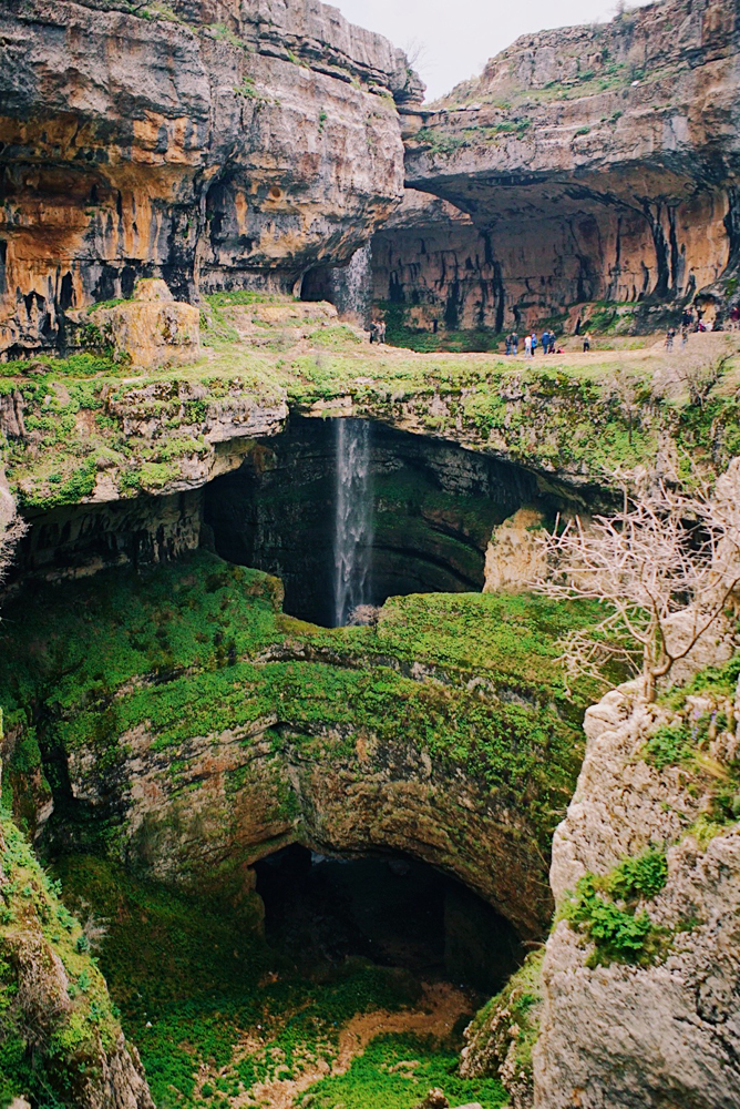 I couldn't believe my eyes at The Baatara Gorge Waterfall, a cave of three natural bridges.