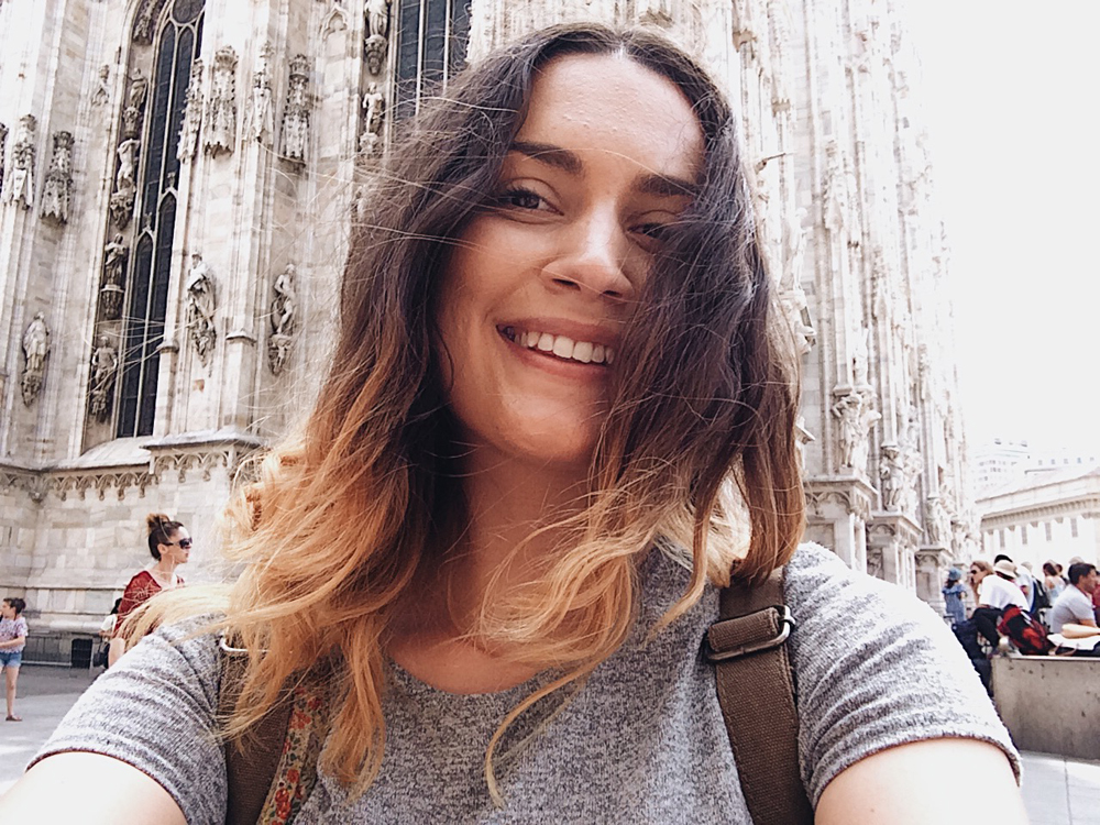 Selfies by the Milan Duomo.