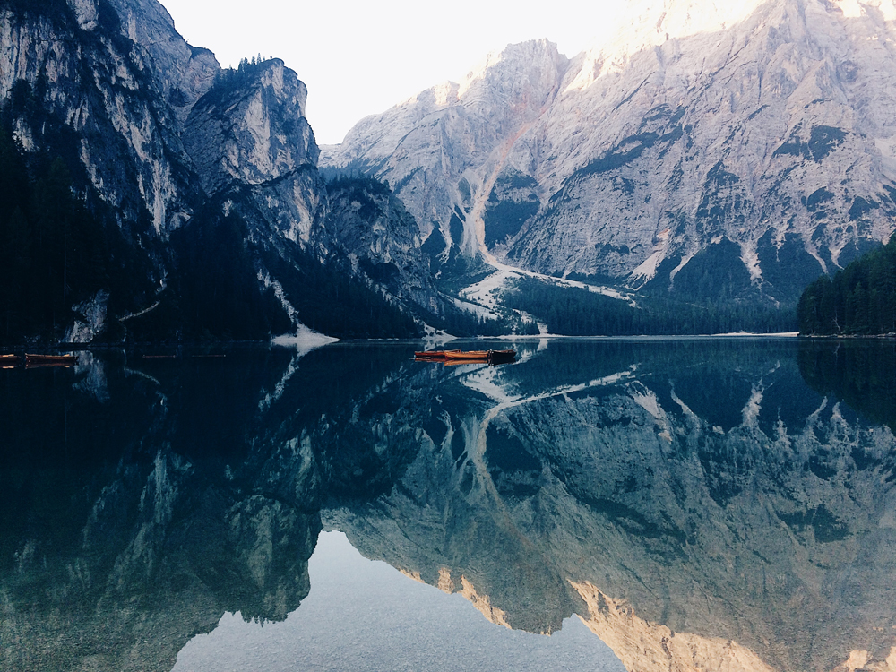 Waking up at sunrise to see Pragser Wildsee