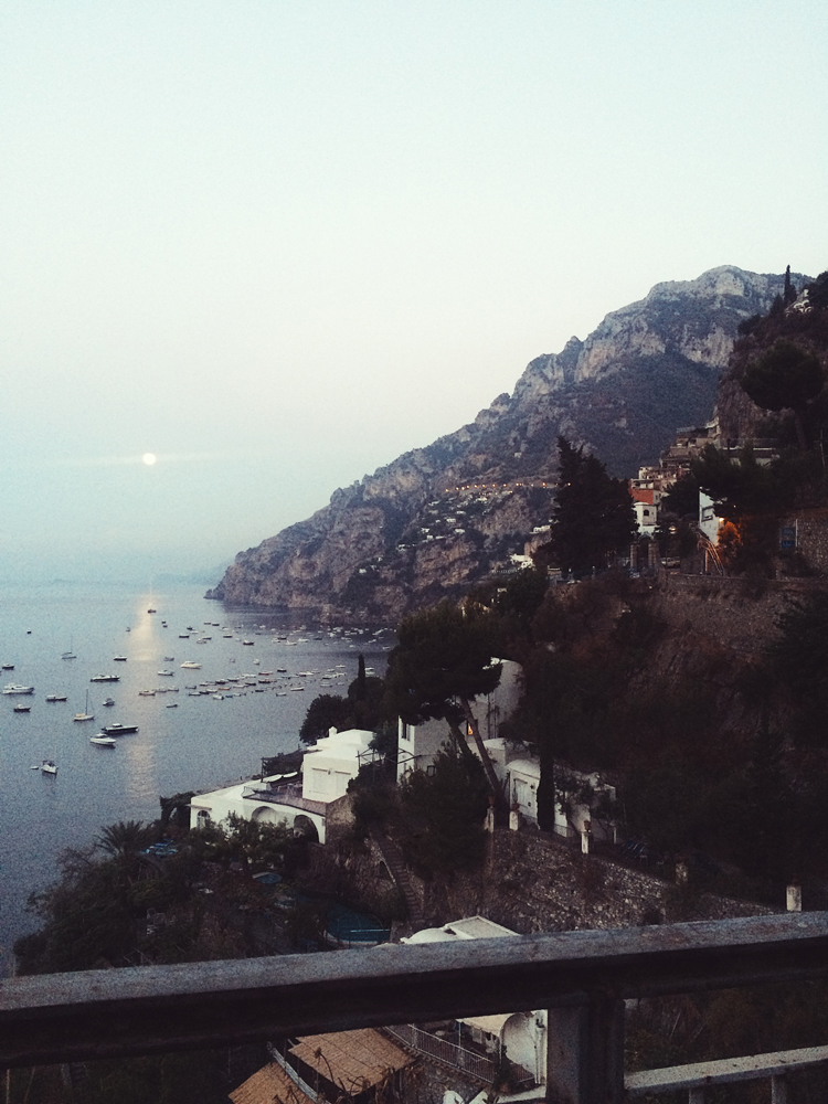 Arriving at Positano on the Amalfi Coast at dawn.