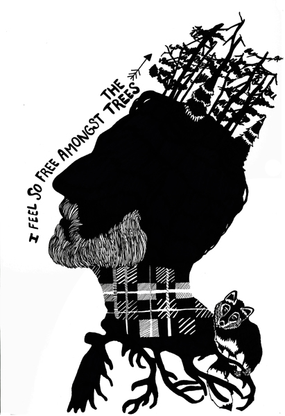 """LumberJack""  Ink Drawing, 8.5x11, 2013"