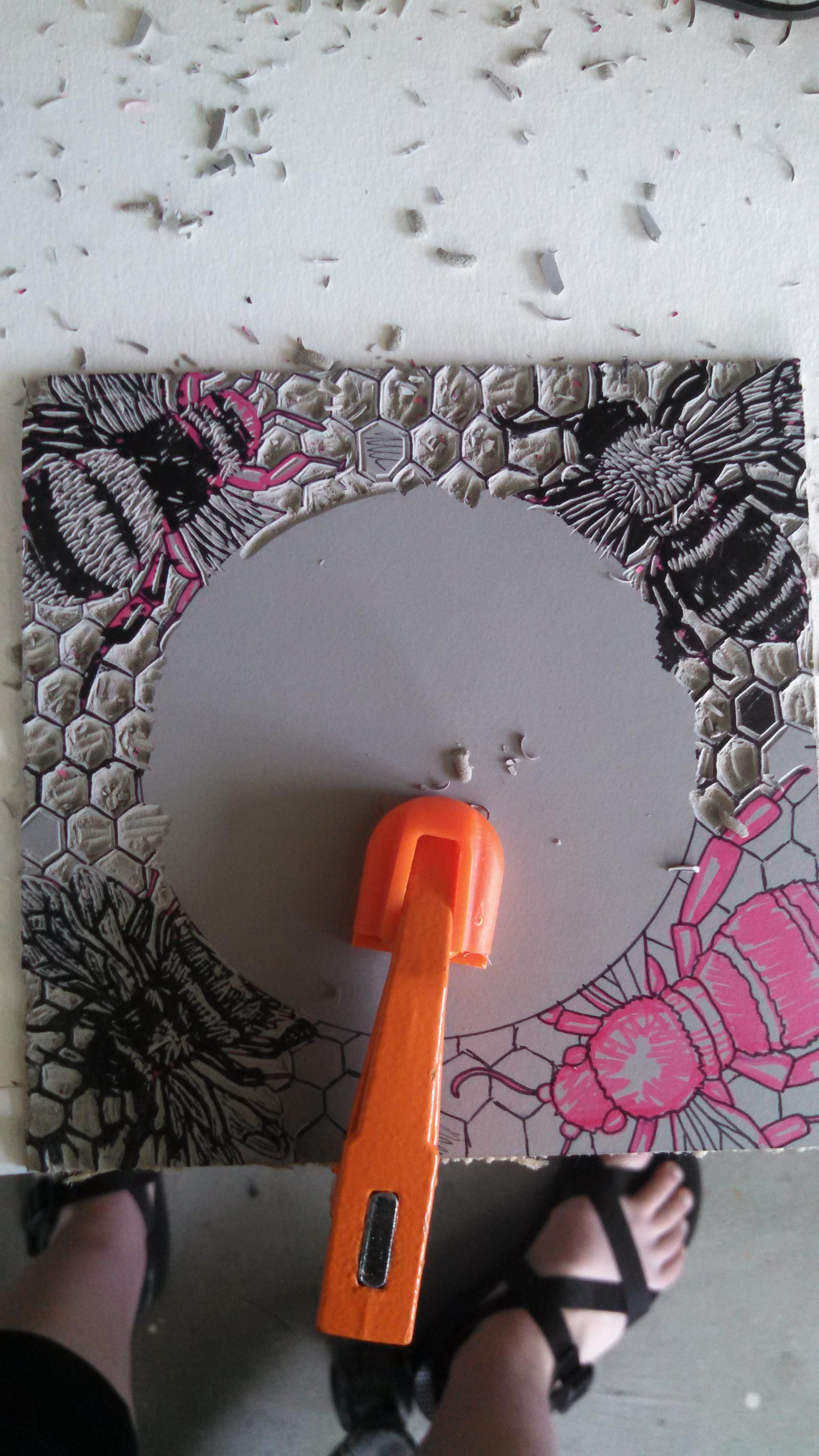 My lino cut piece I was working on.