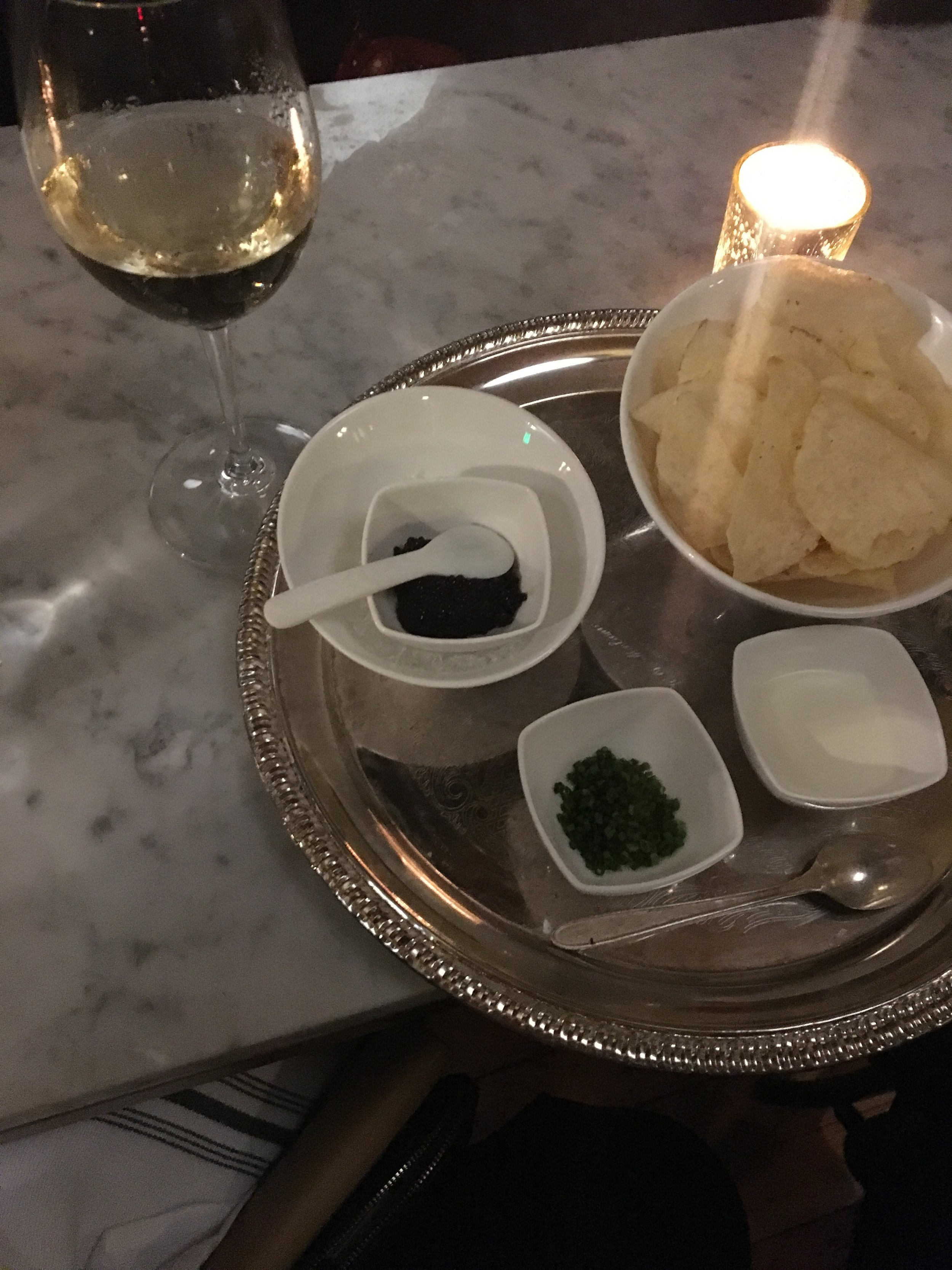 My first caviar experience - at The Riddler champagne bar in San Fran