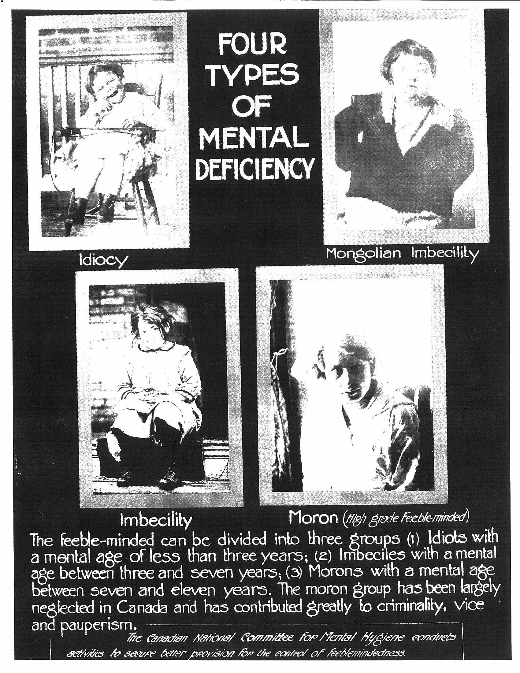 Eugenic poster put out by the Canadian National Committee for Mental Hygiene, 1920s.  Courtesy of CAMH Archives.